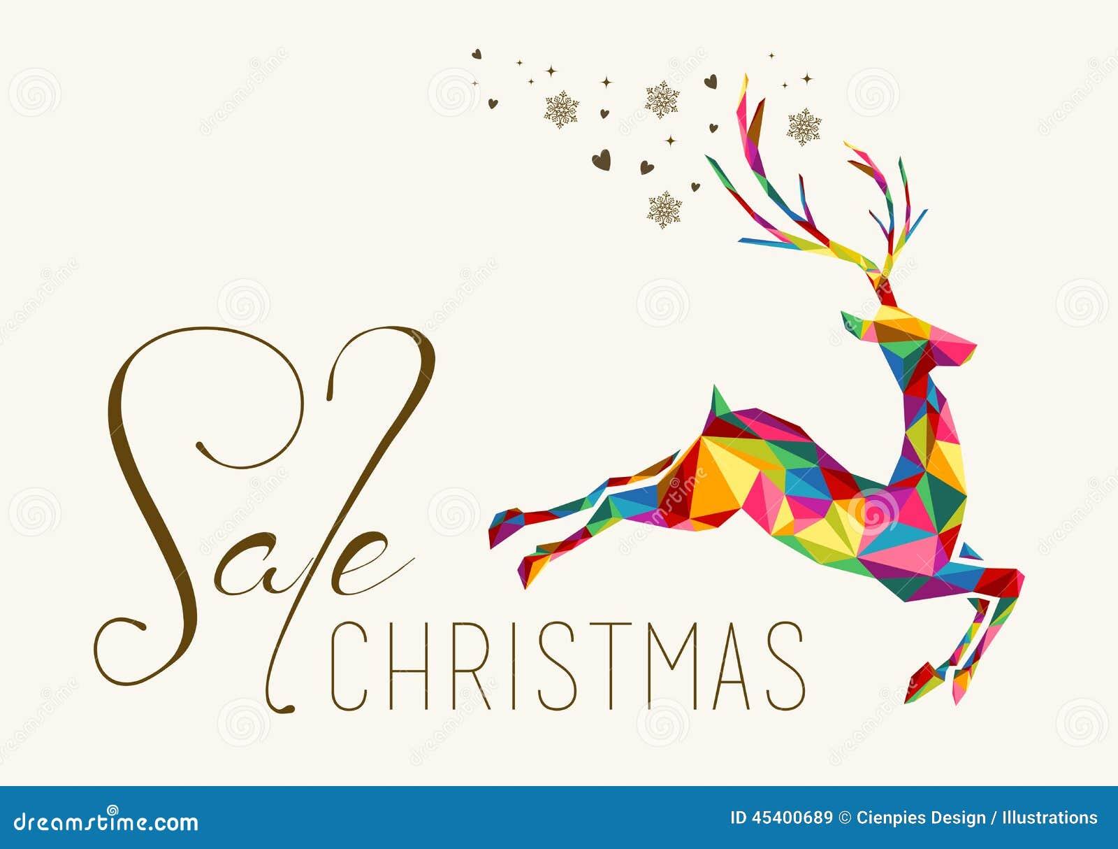 Бирка вида красочного северного оленя продажи рождества винтажная