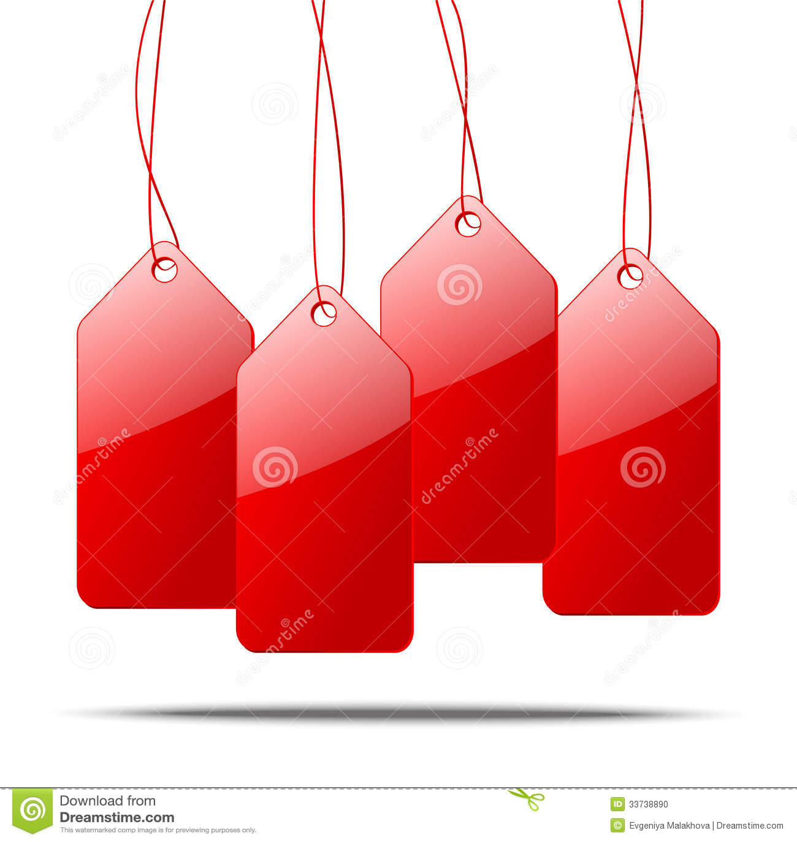 бирки красного цвета цены иллюстрации 3d