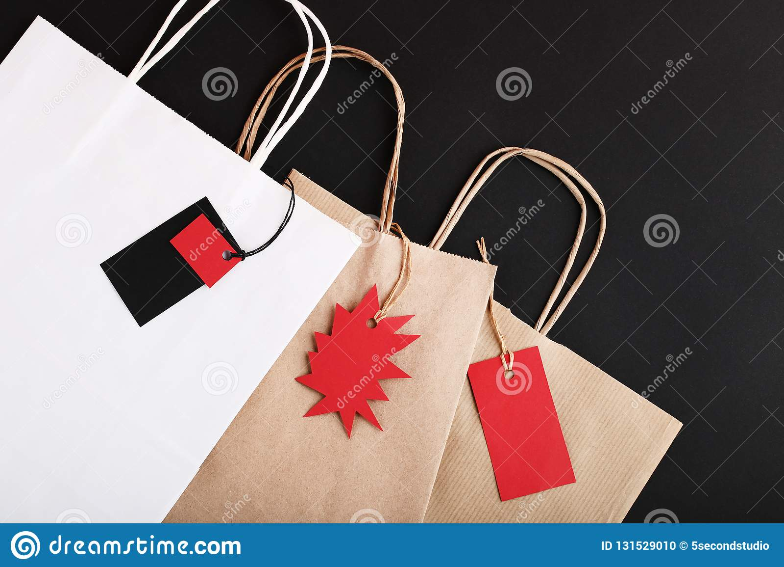 Бирки продажи с бумажными мешками