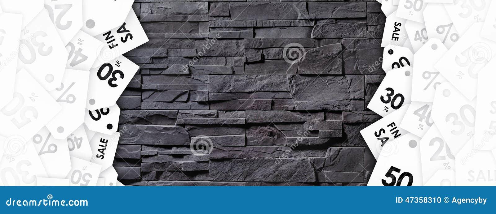 Бирки скидки на текстуре каменной стены