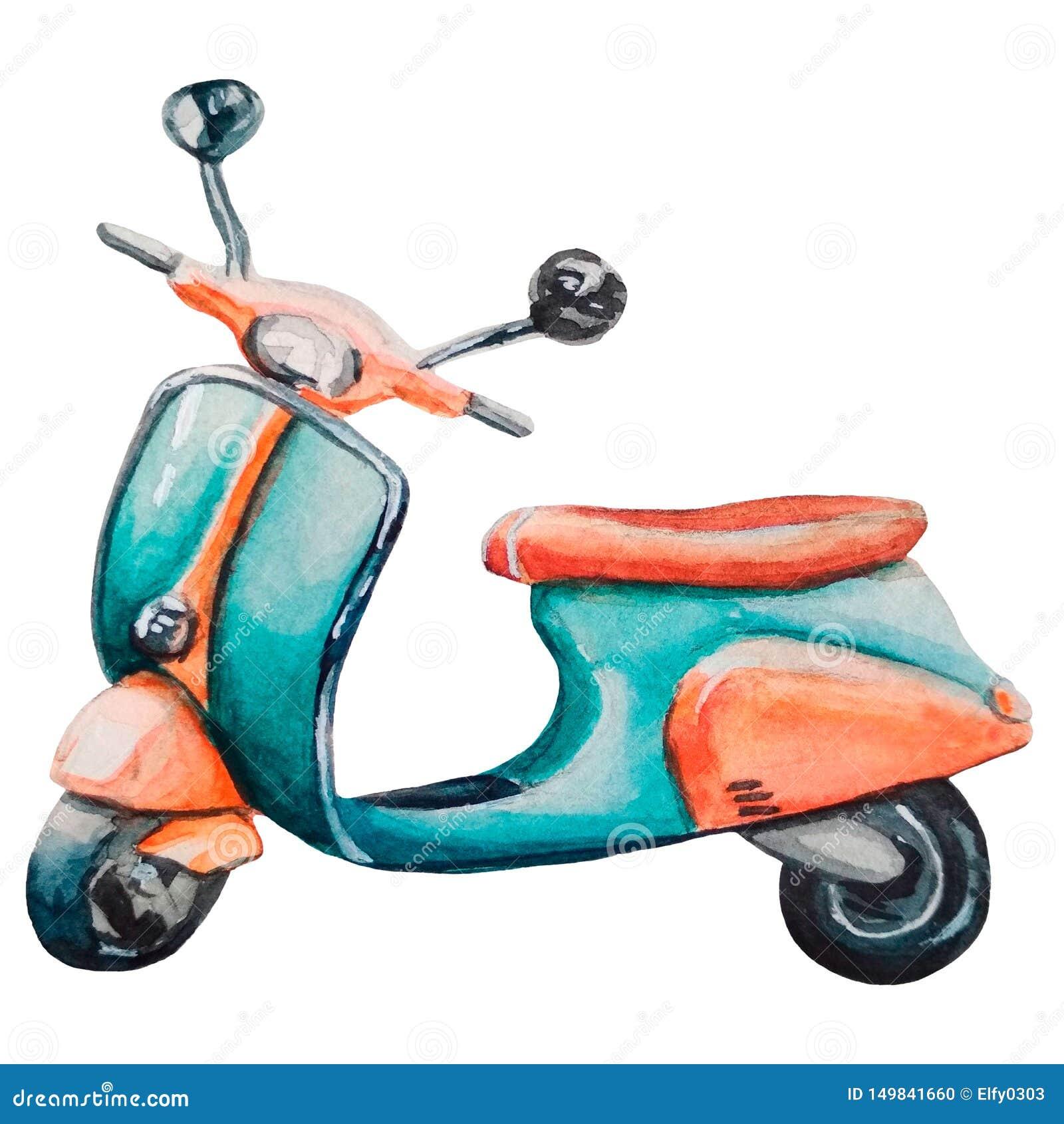 Бирюза акварели винтажная и оранжевый мотоцикл