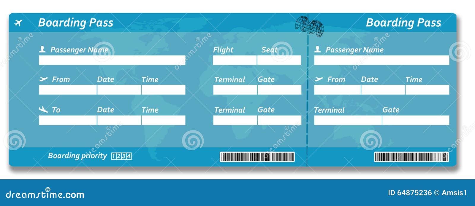 билет пропуска восхождения на борт авиакомпании пустой