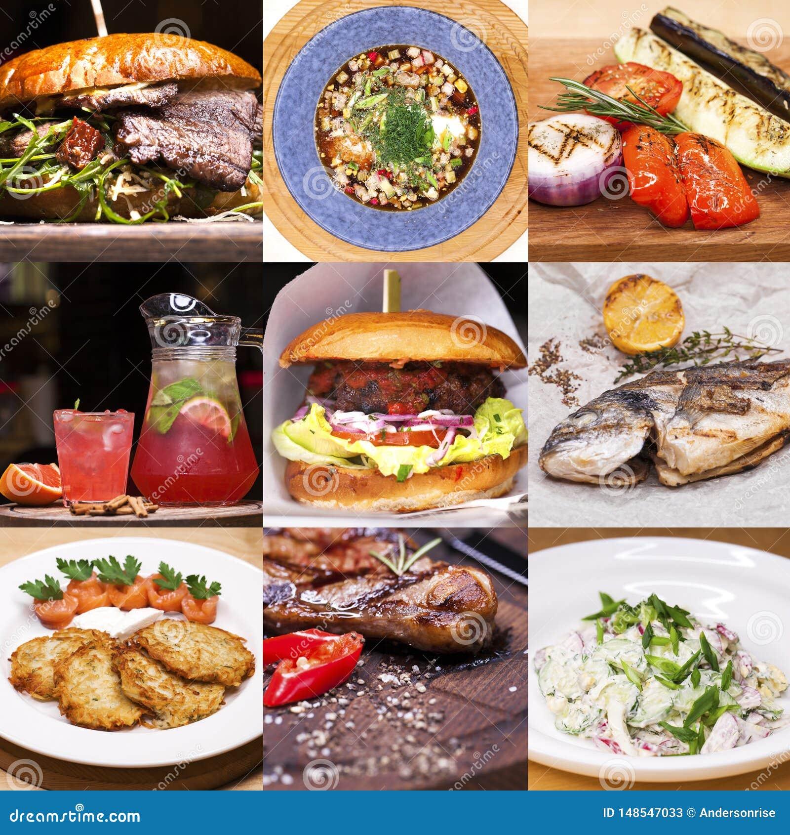 Блюда ресторана коллажа различные