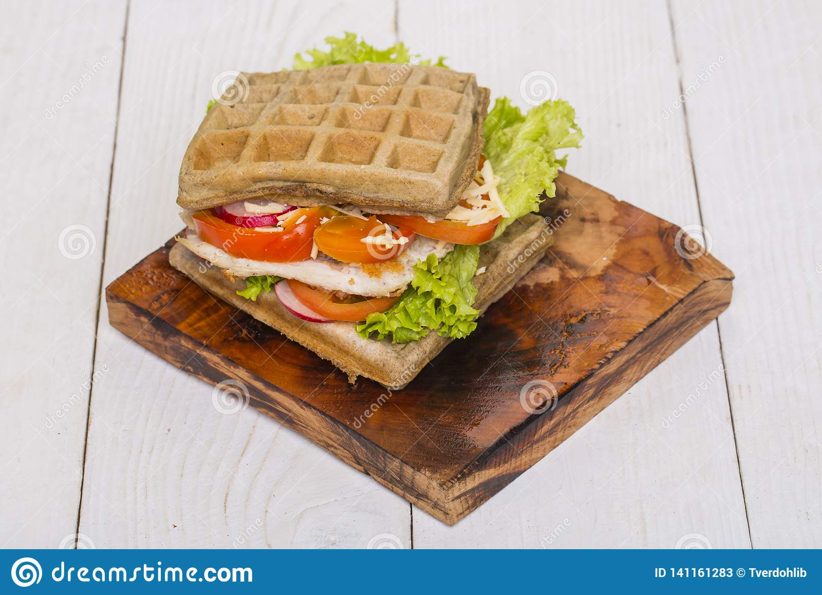 Блюдо вафли, завтрак, обед