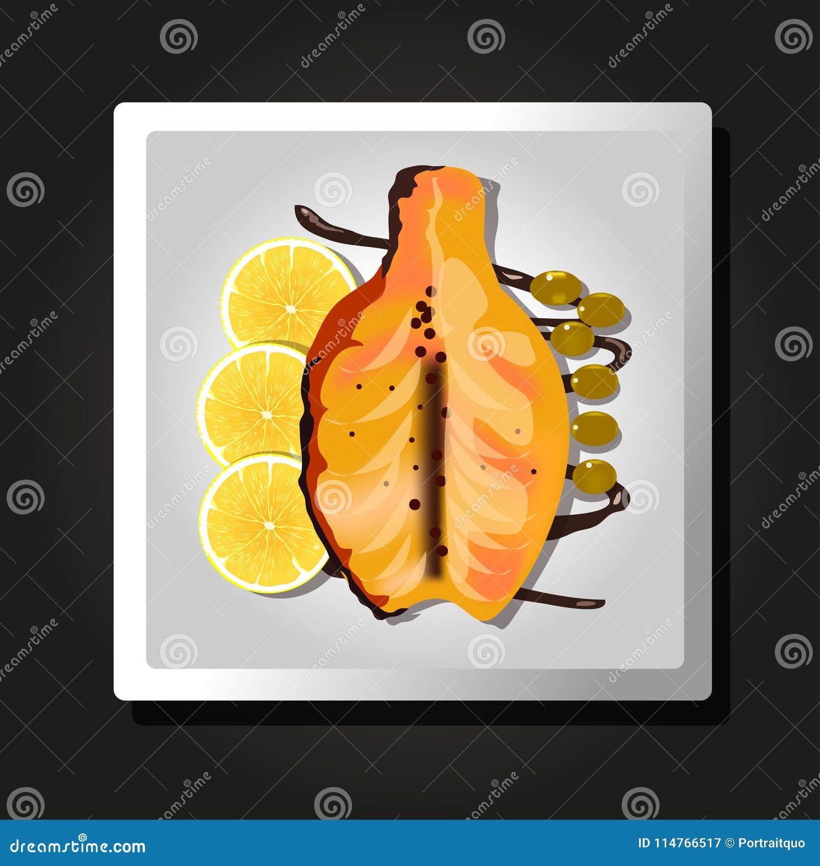 Блюдо испеченных рыб, лимонов и оливок на черной предпосылке