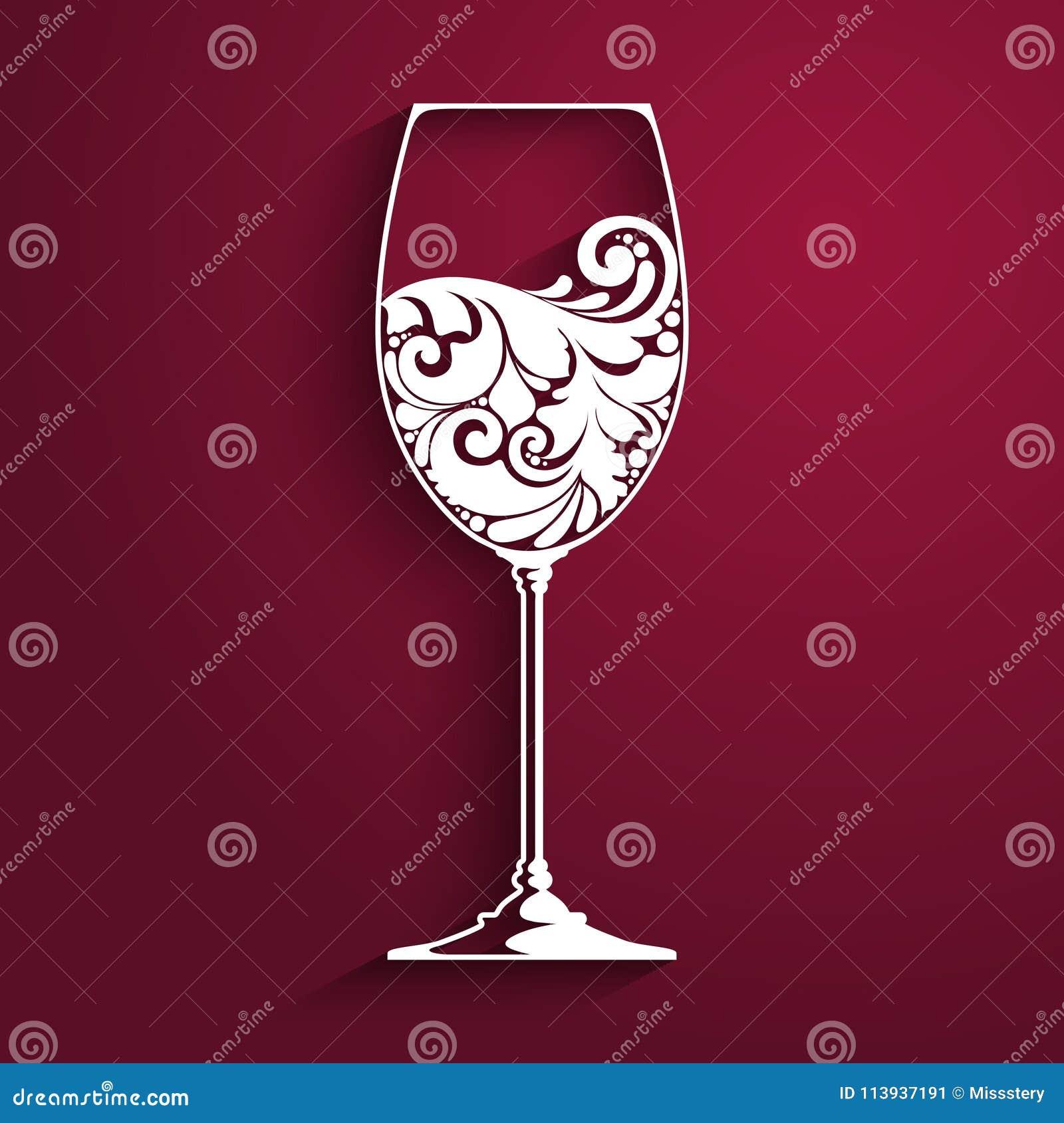 Богато украшенный бокал вина Vector элемент для винной карты, шаблона дизайна меню также вектор иллюстрации притяжки corel
