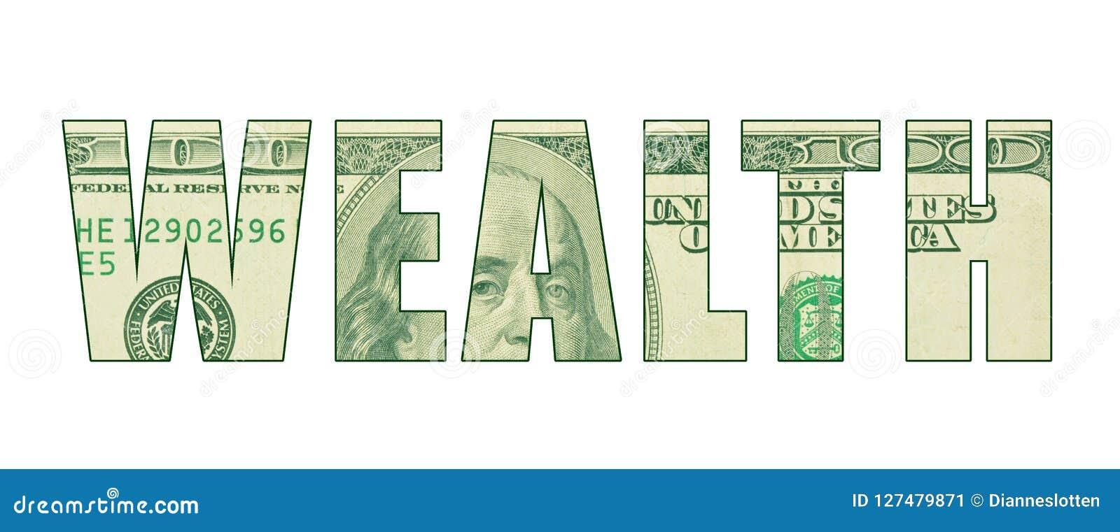 ` БОГАТСТВА ` слова с текстурой денег