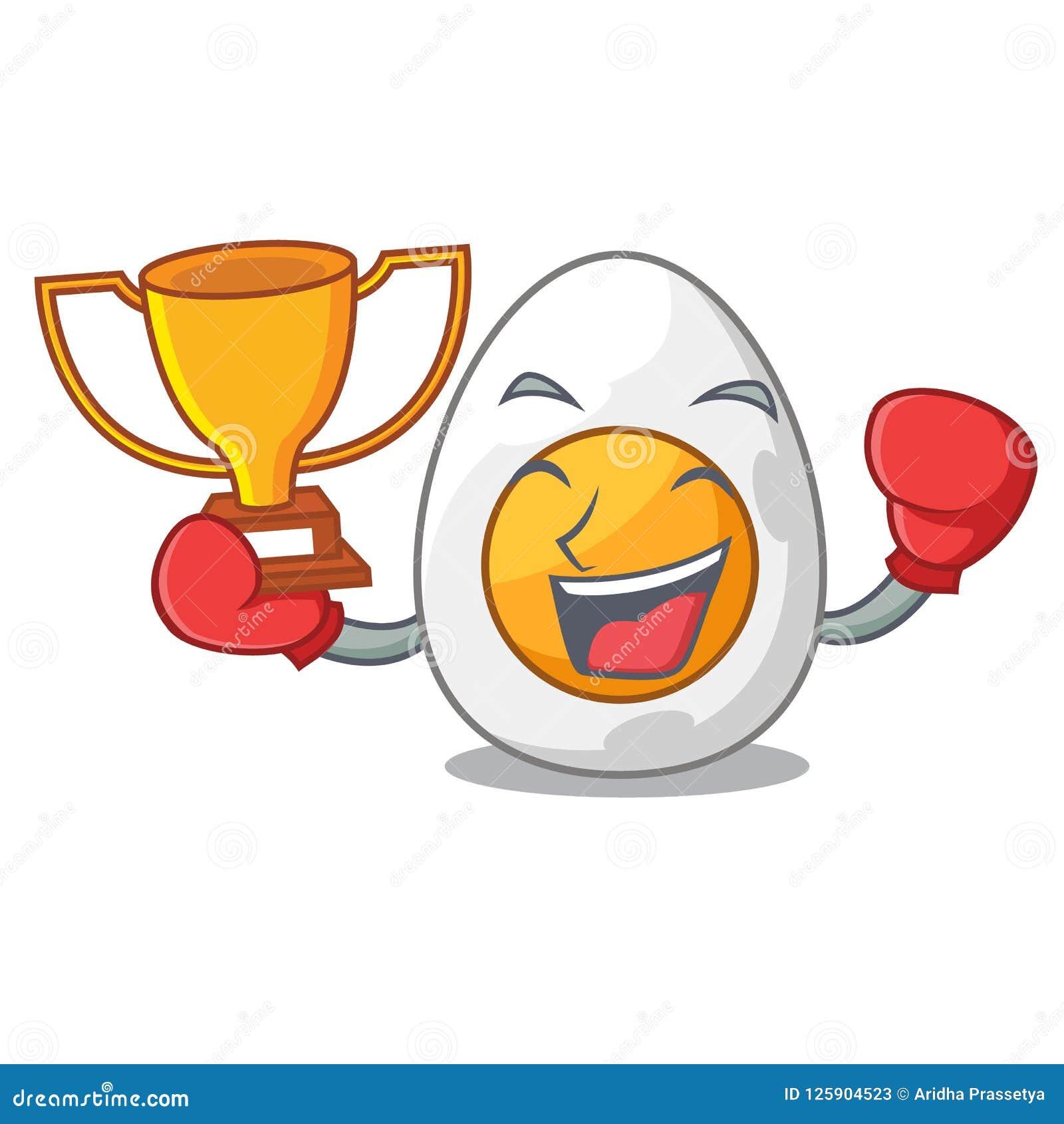 Бокса победителя вареное яйцо свеже изолированное на шарже талисмана