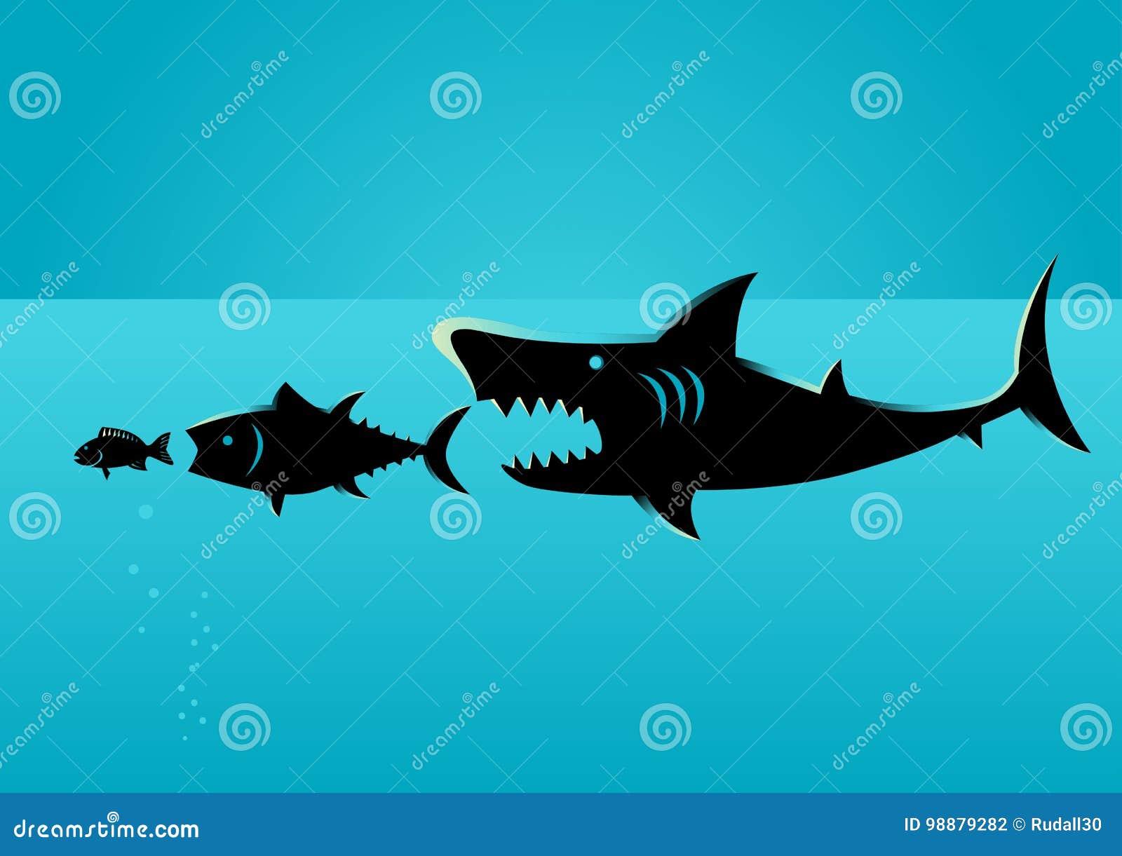 Более большая добыча рыб на более малых рыбах