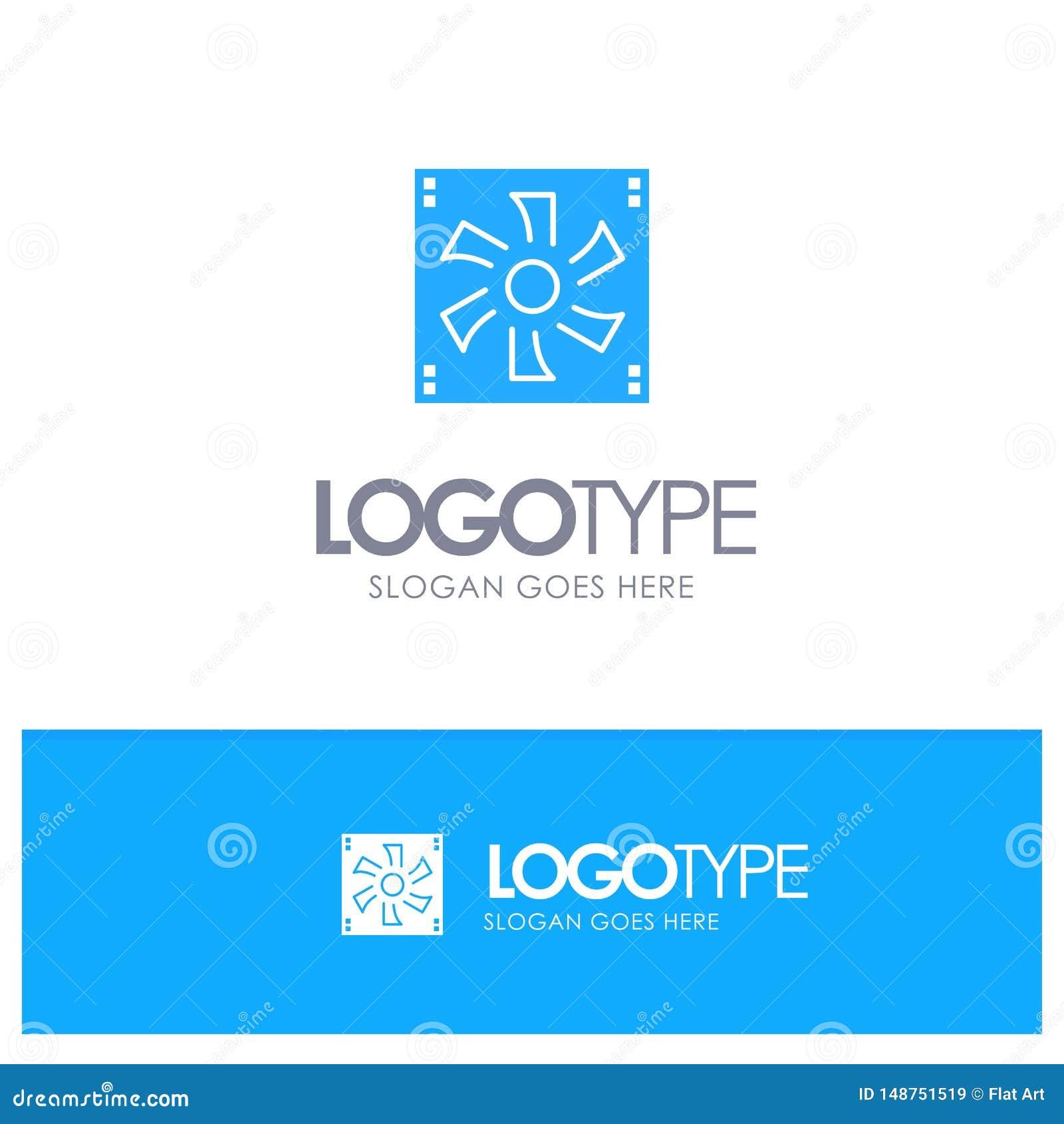 Более крутой вентилятор, компьютер, охладитель, прибор, логотип вентилятора голубой твердый с местом для слогана