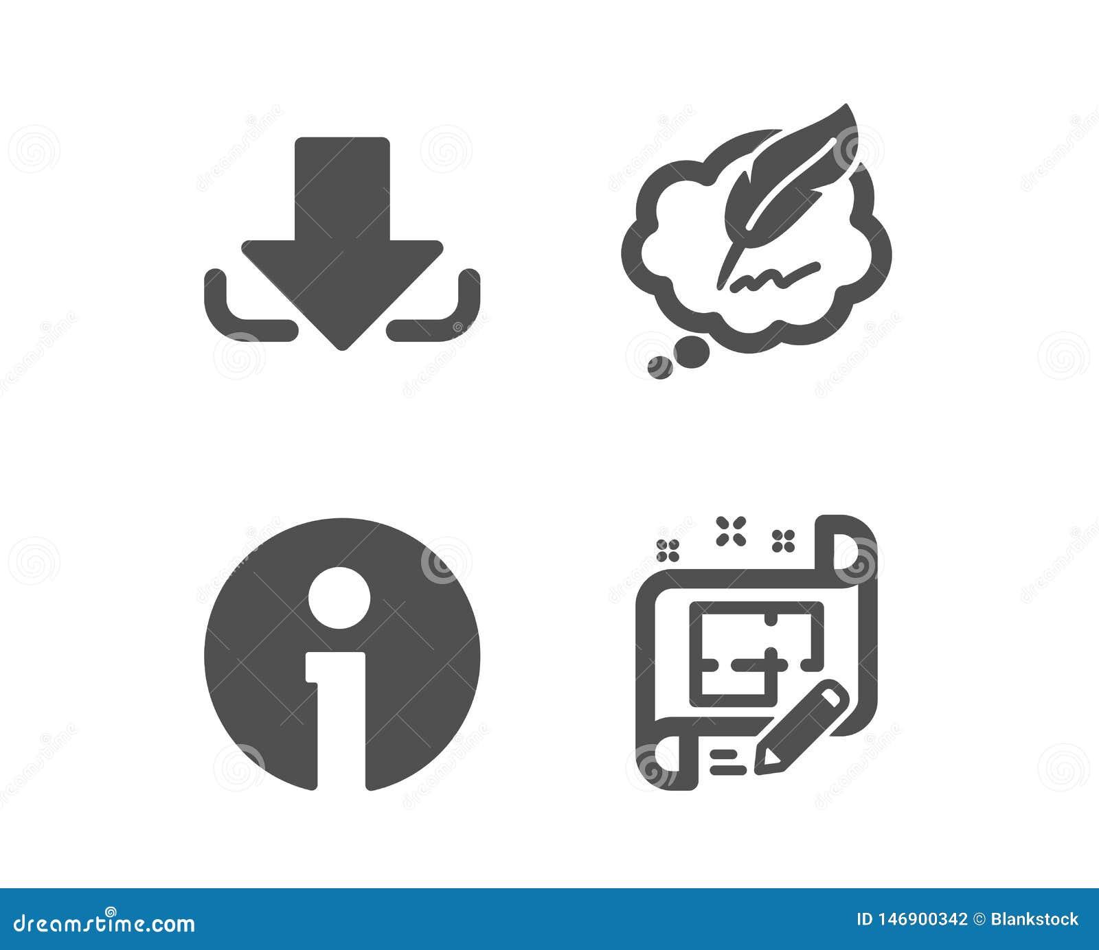Болтовня загрузки, авторского права и значки информации Знак плана архитектора Файл нагрузки, пузырь речи, информация r