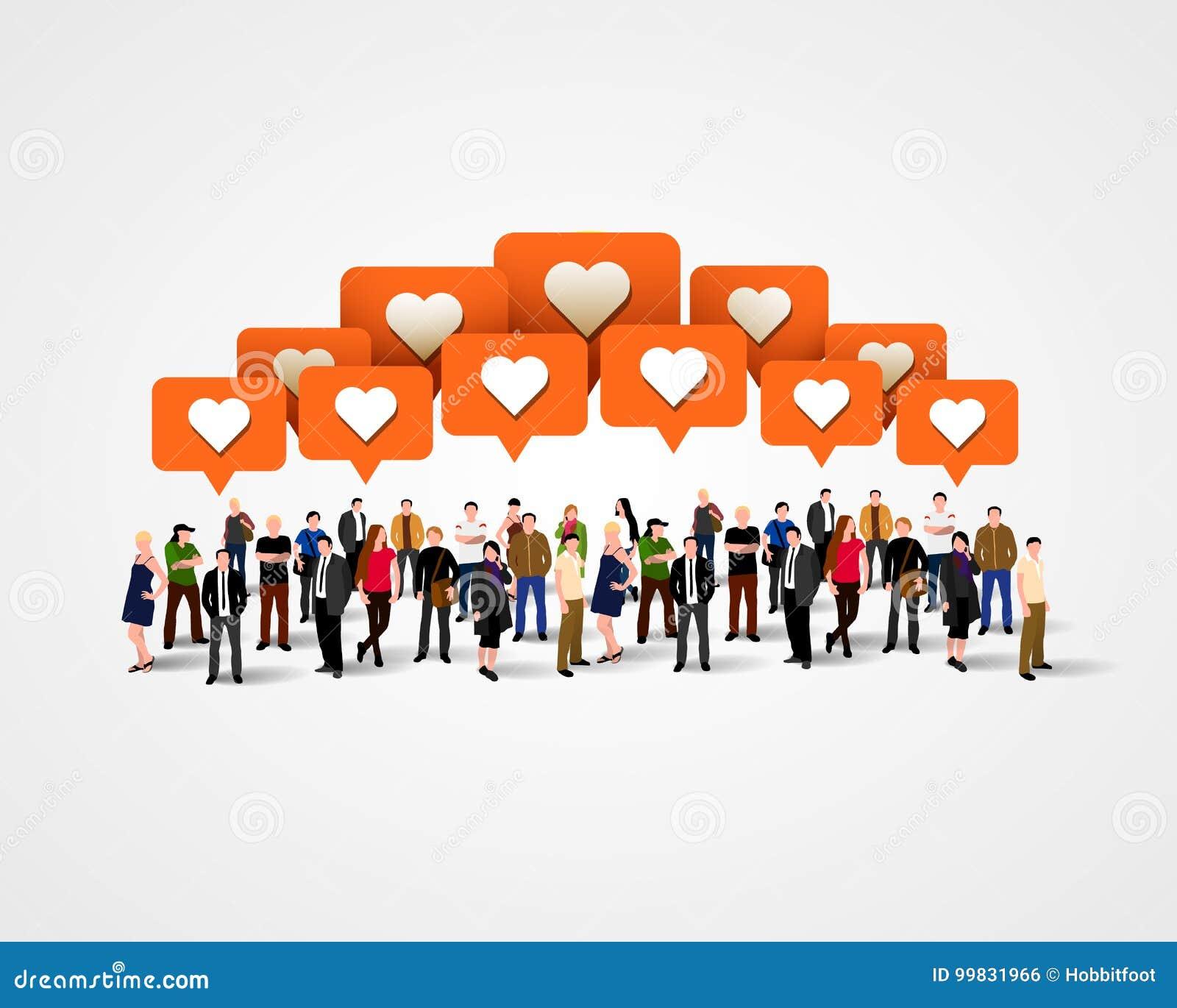 Большая группа людей с близкими знаками принципиальная схема цифрово произвела высокий social res сети изображения