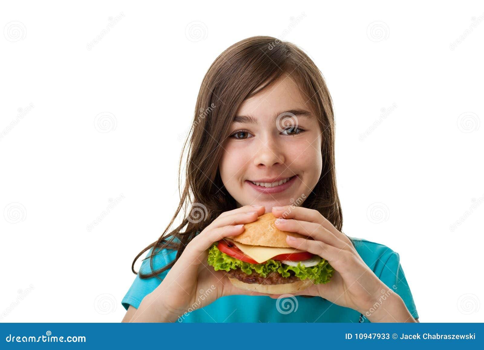 большие детеныши сандвича девушки еды