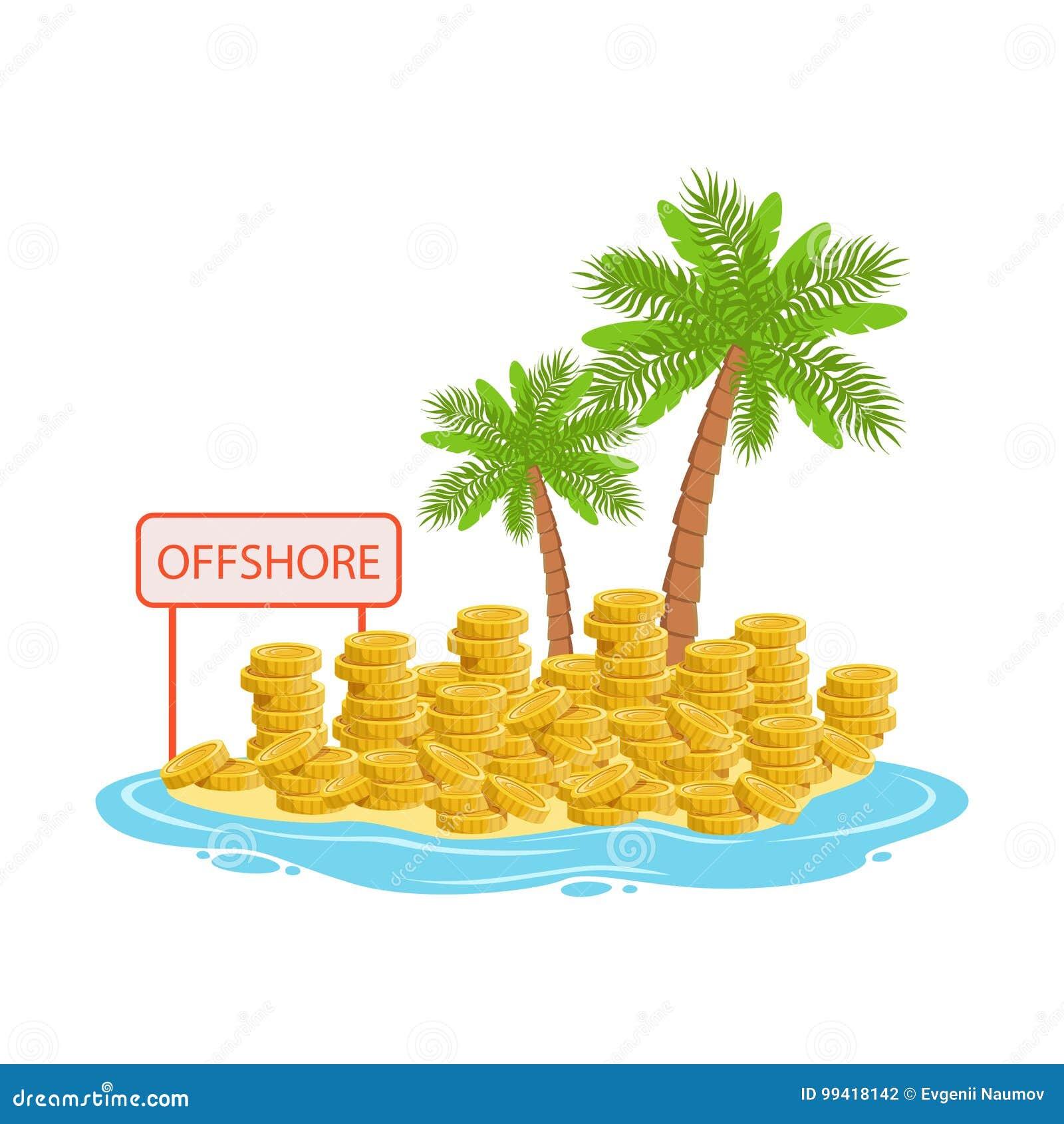 Большие кучи золотых монеток лежа на тропическом острове, иллюстрации вектора концепции оффшорных банковских дел