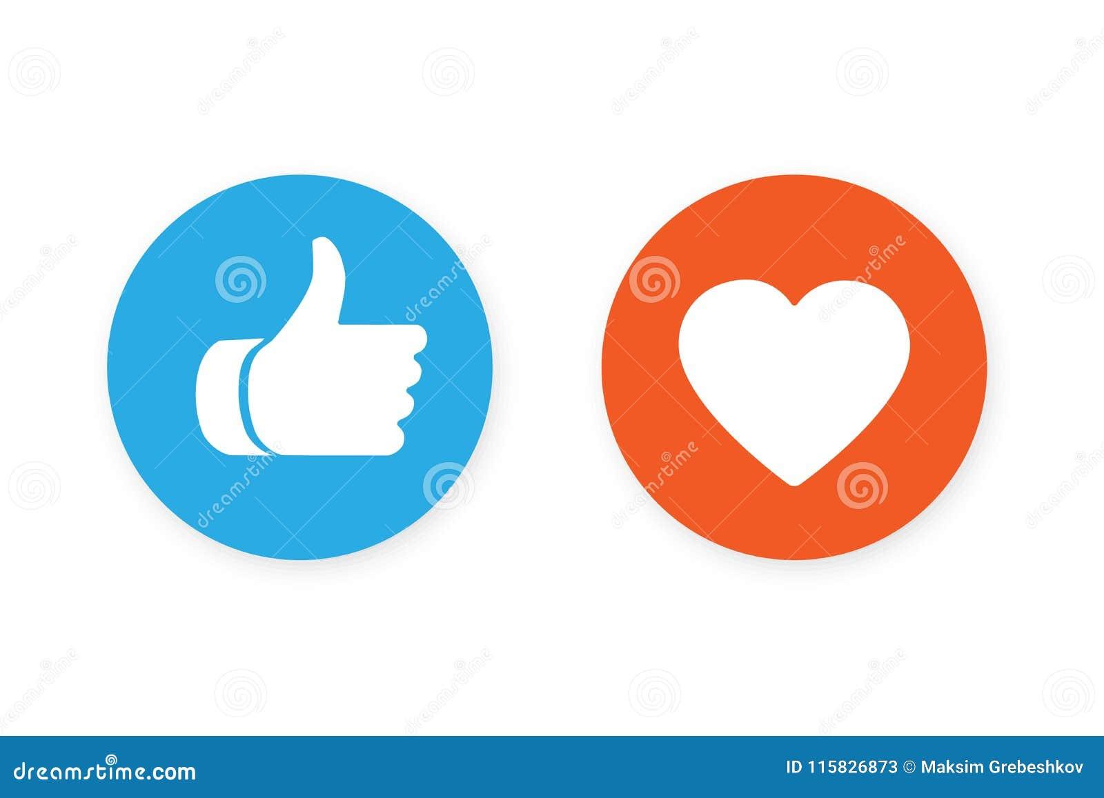 Большие пальцы руки поднимают и значок сердца
