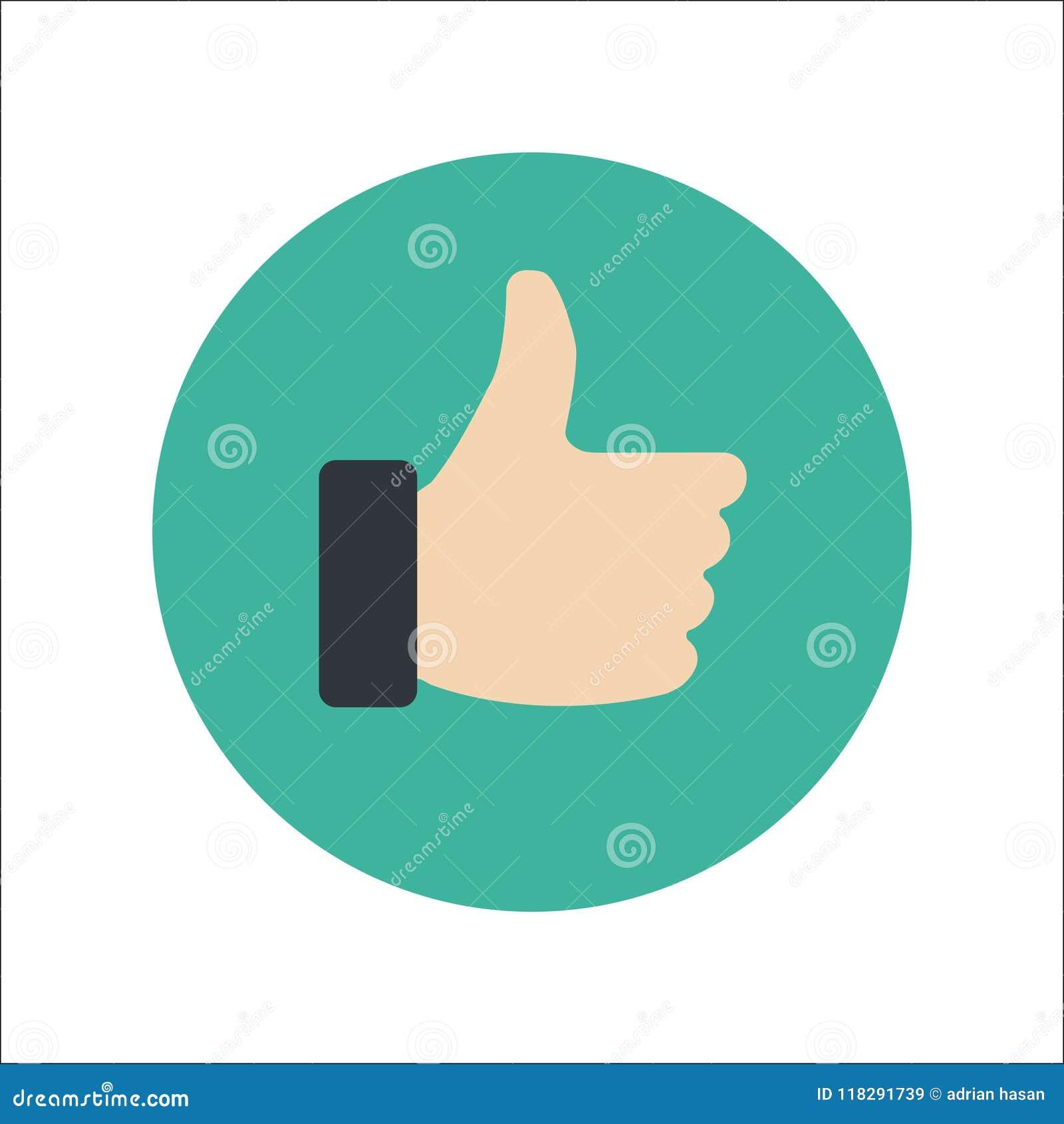 Большие пальцы руки поднимают плоский вектор значка