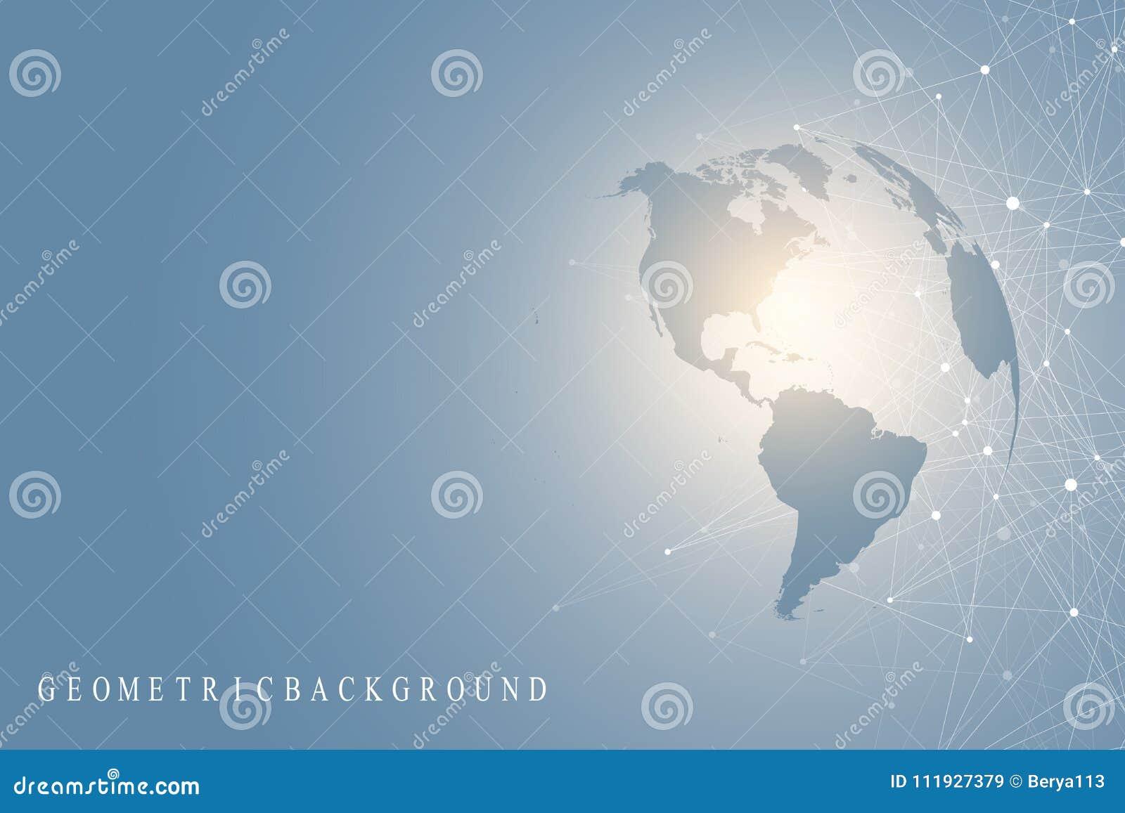 Большое визуализирование данных с глобусом мира Абстрактная предпосылка вектора с динамическими волнами Соединение глобальной выч