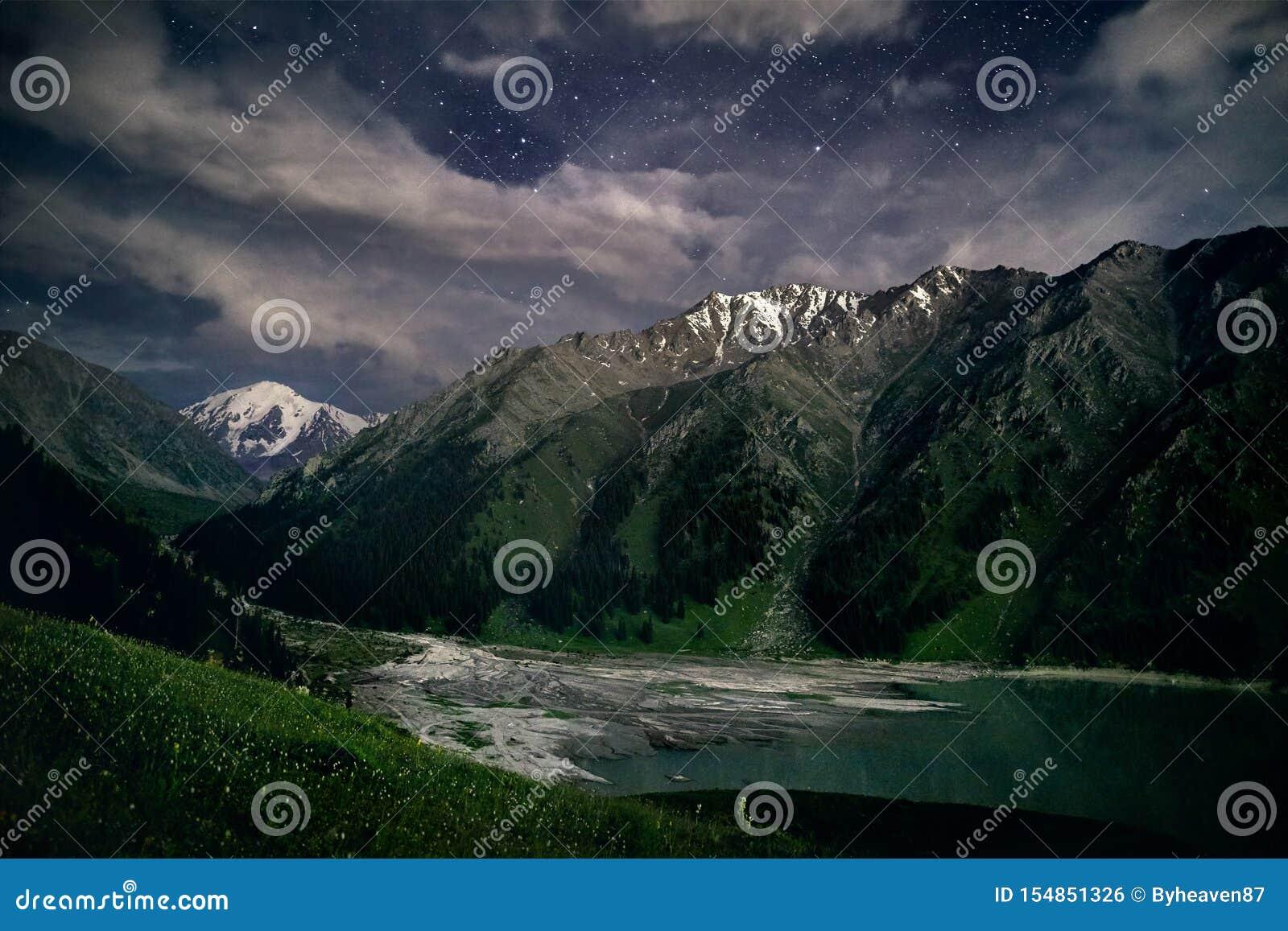Большое озеро Алма-Ата вечером