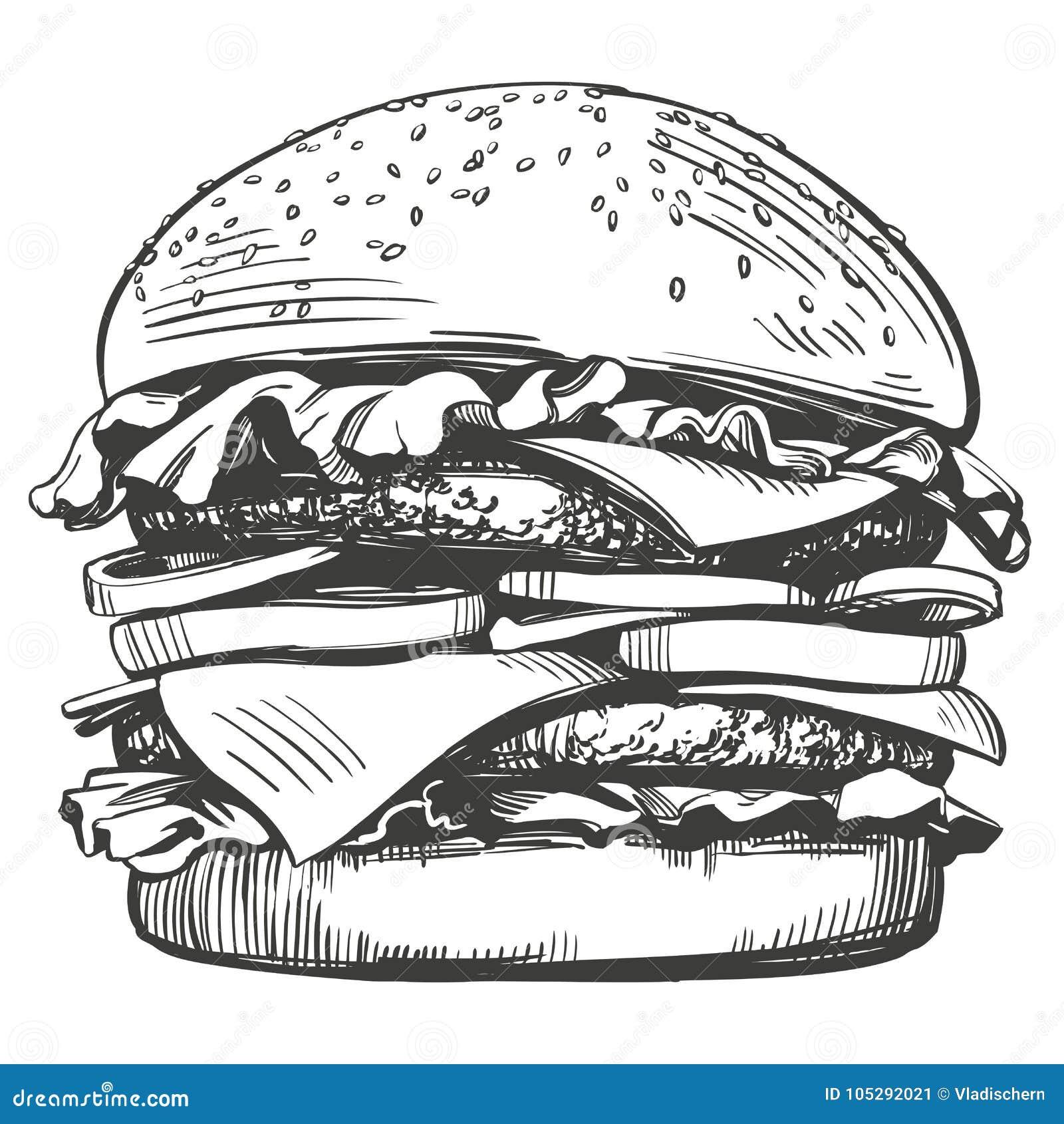 Большой бургер, стиль эскиза иллюстрации вектора гамбургера нарисованный рукой ретро