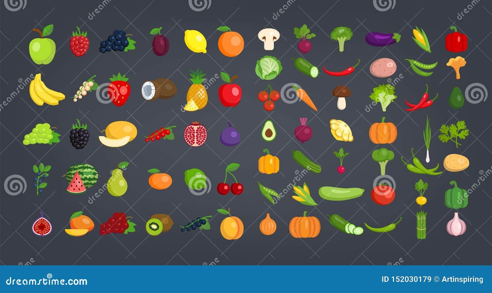 Большой набор фруктов и овощей