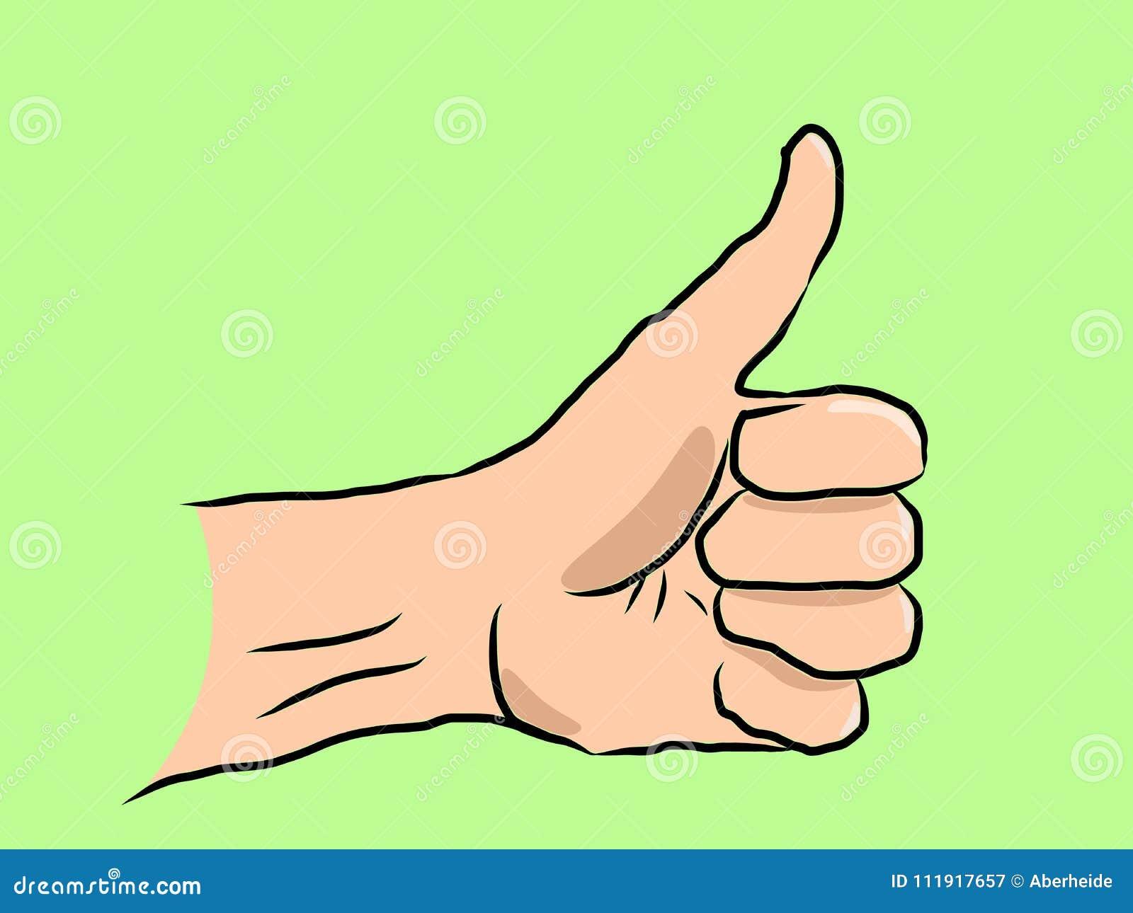 Большой палец руки нарисованный рукой вверх на зеленом цвете
