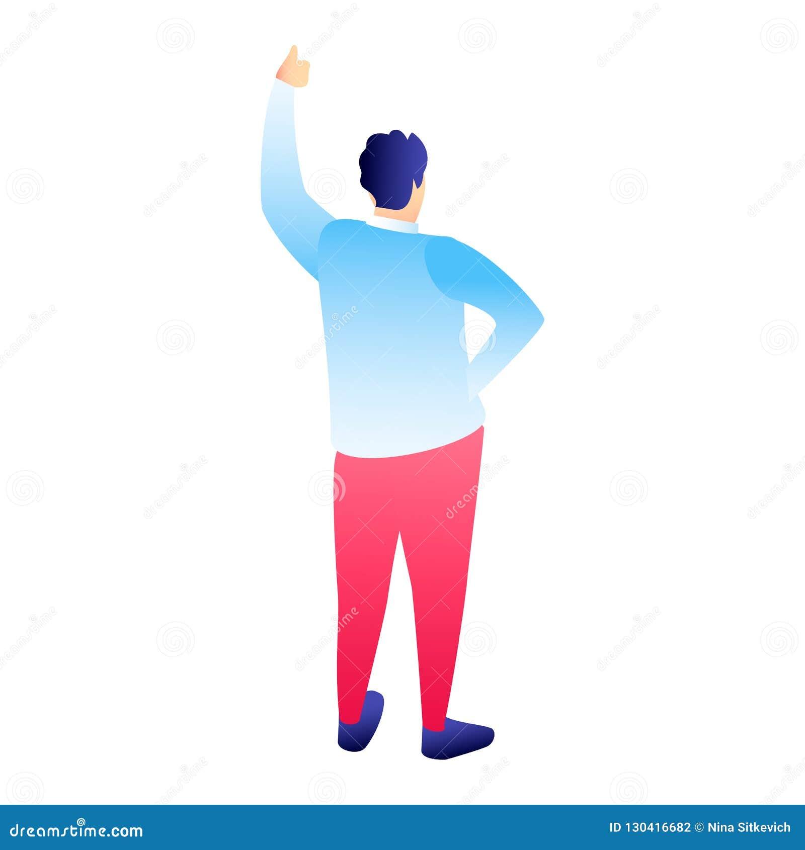 Большой палец руки человека вверх по значку, равновеликому стилю