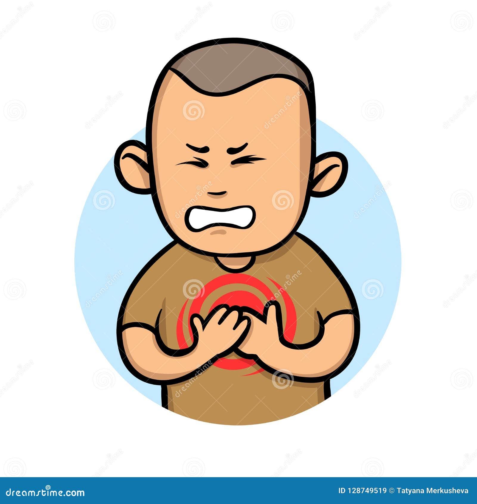 Боль в груди чувства молодого человека Ангина и сердечный приступ Плоская иллюстрация вектора белизна изолированная предпосылкой