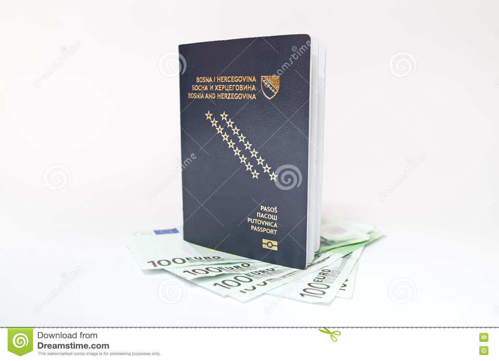 Боснийский пасспорт и деньги на белизне