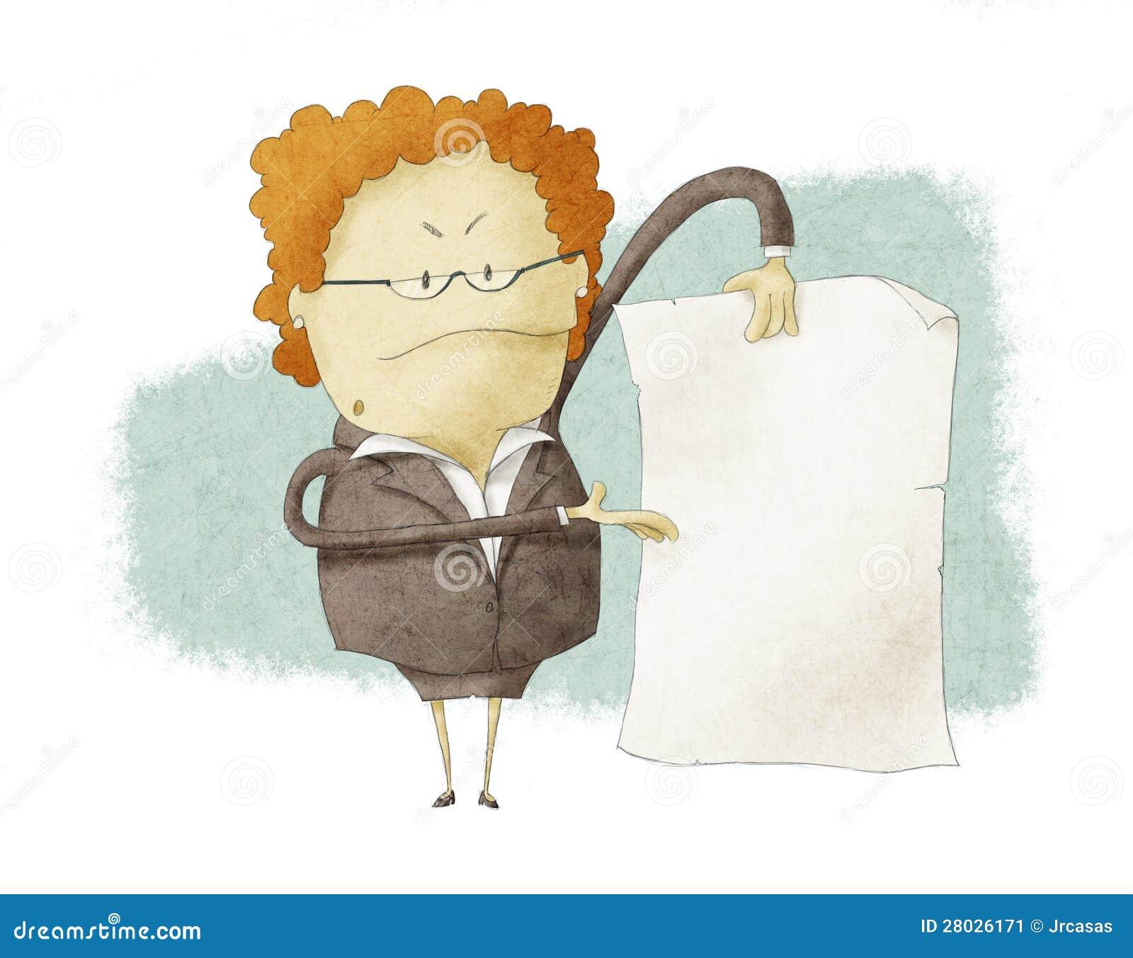 Босс держа пустую бумагу
