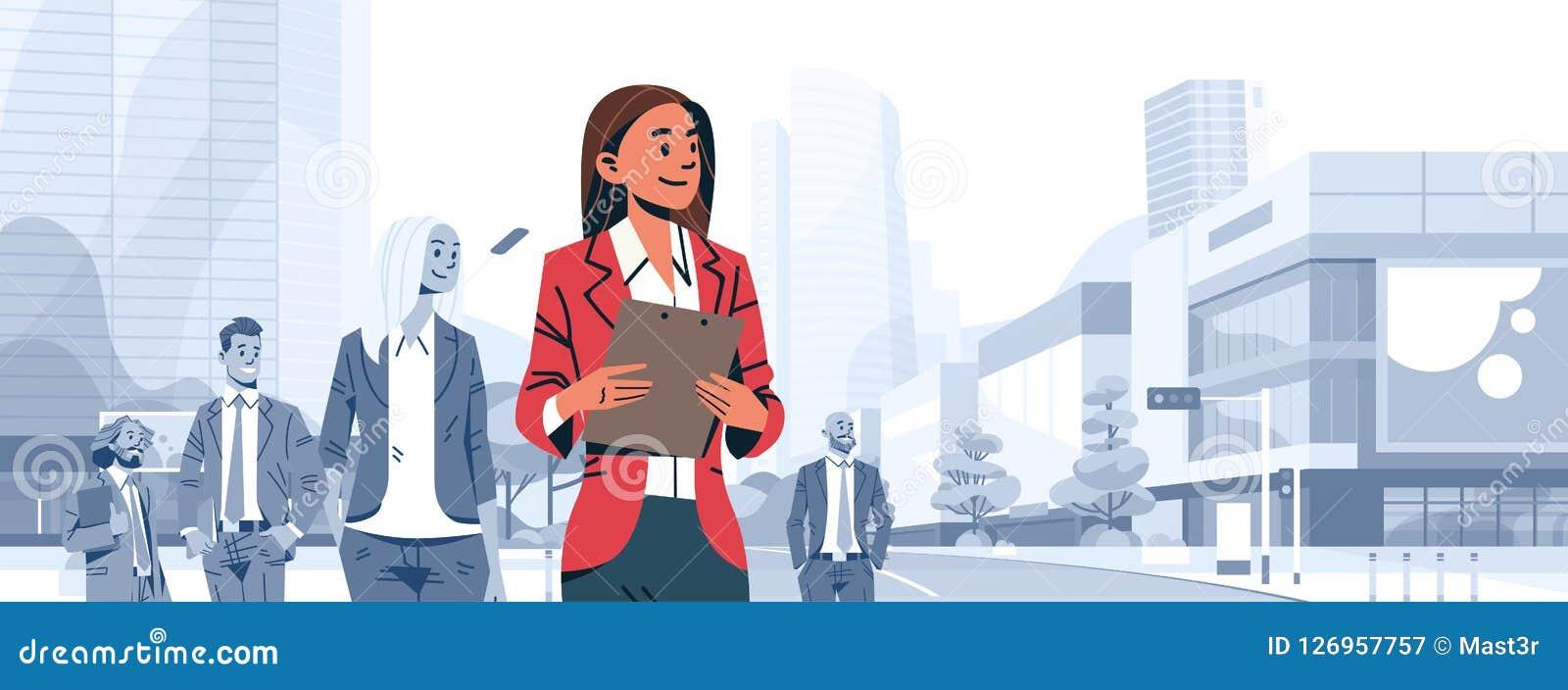Босс руководителя группы коммерсантки стоит вне бизнесмены персонажа из мультфильма женщины концепции руководства группы индивиду
