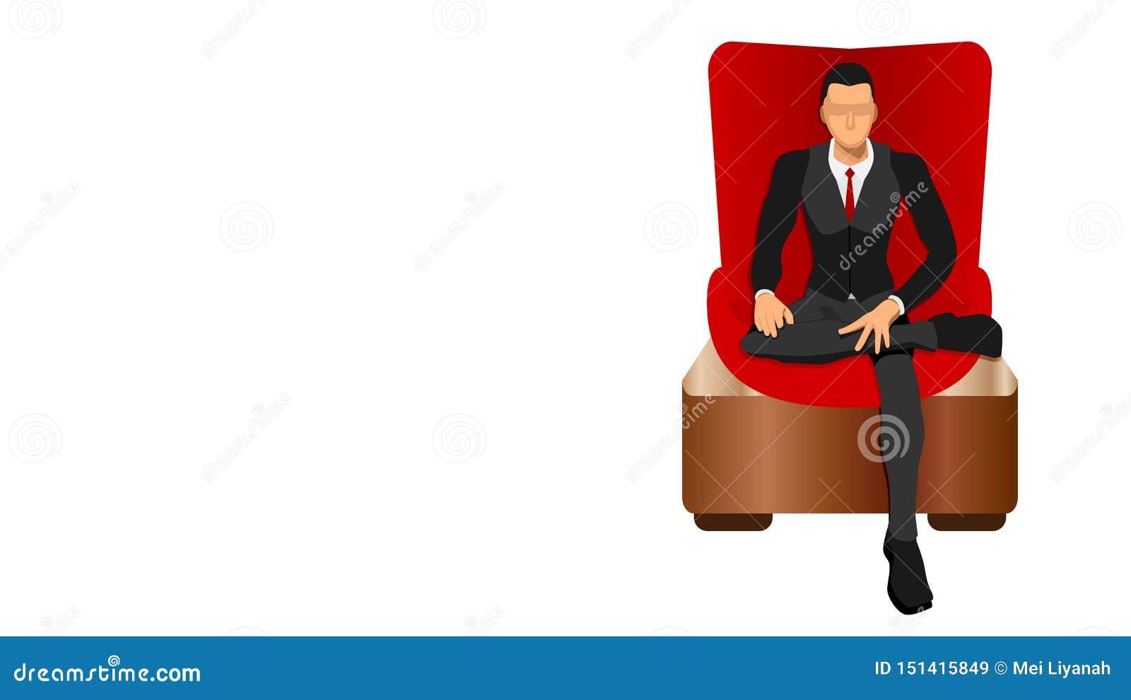Босс сидит свободно в красном роскошном стуле
