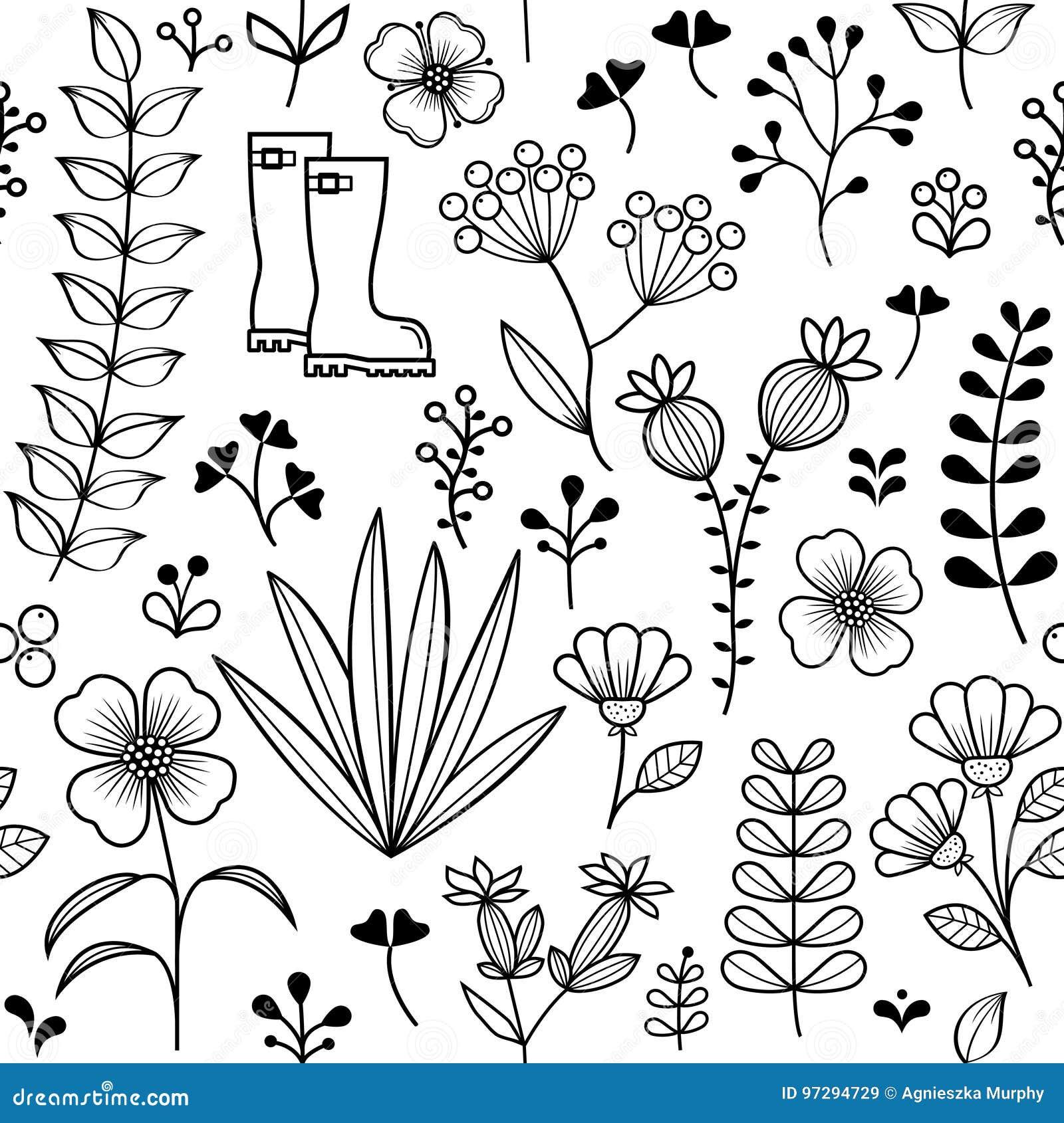 Ботаническая безшовная картина, нарисованные рукой полевые цветки и травы конструируют, обои