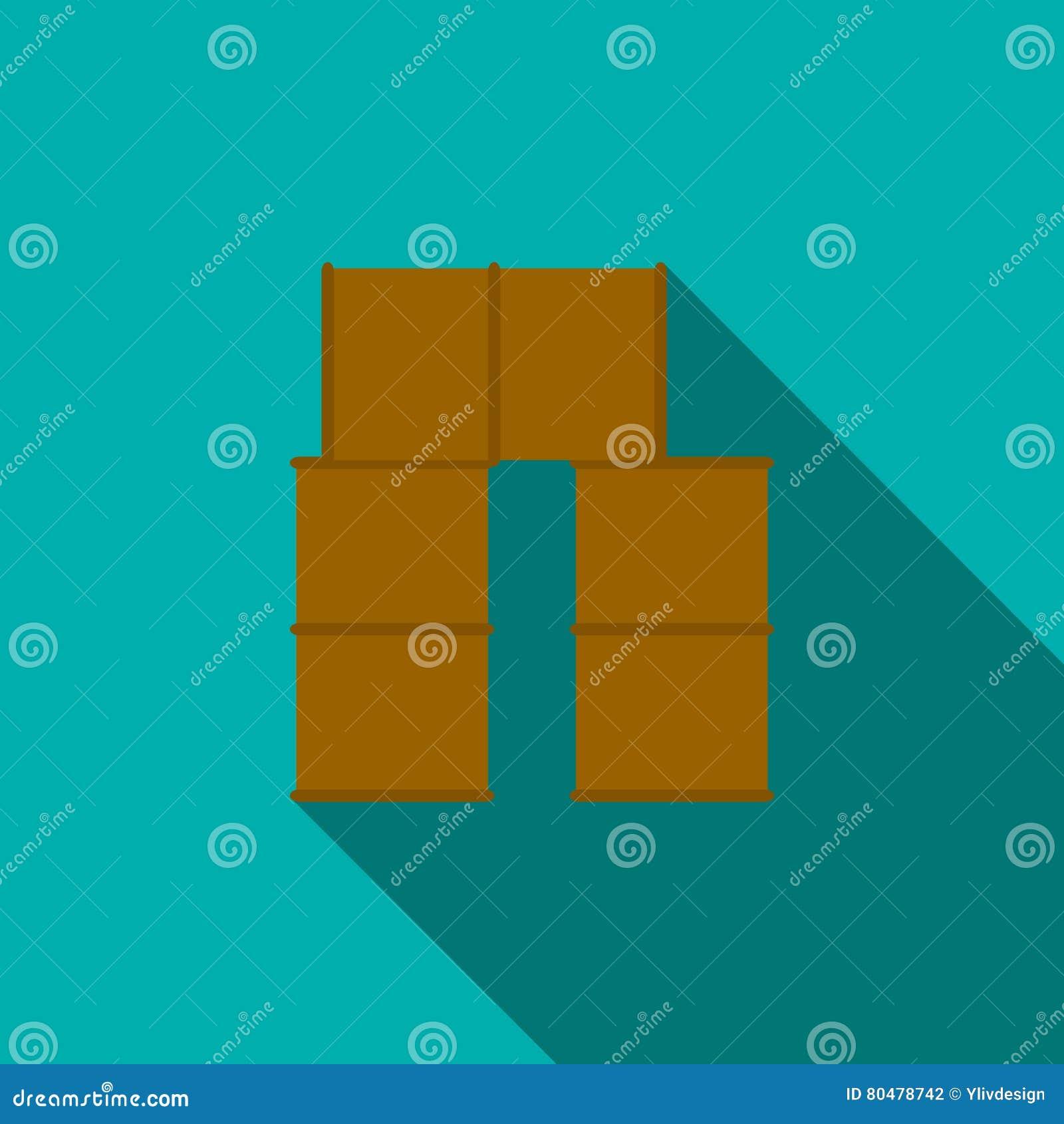 Бочонки баррикад для значка пейнтбола, плоского стиля