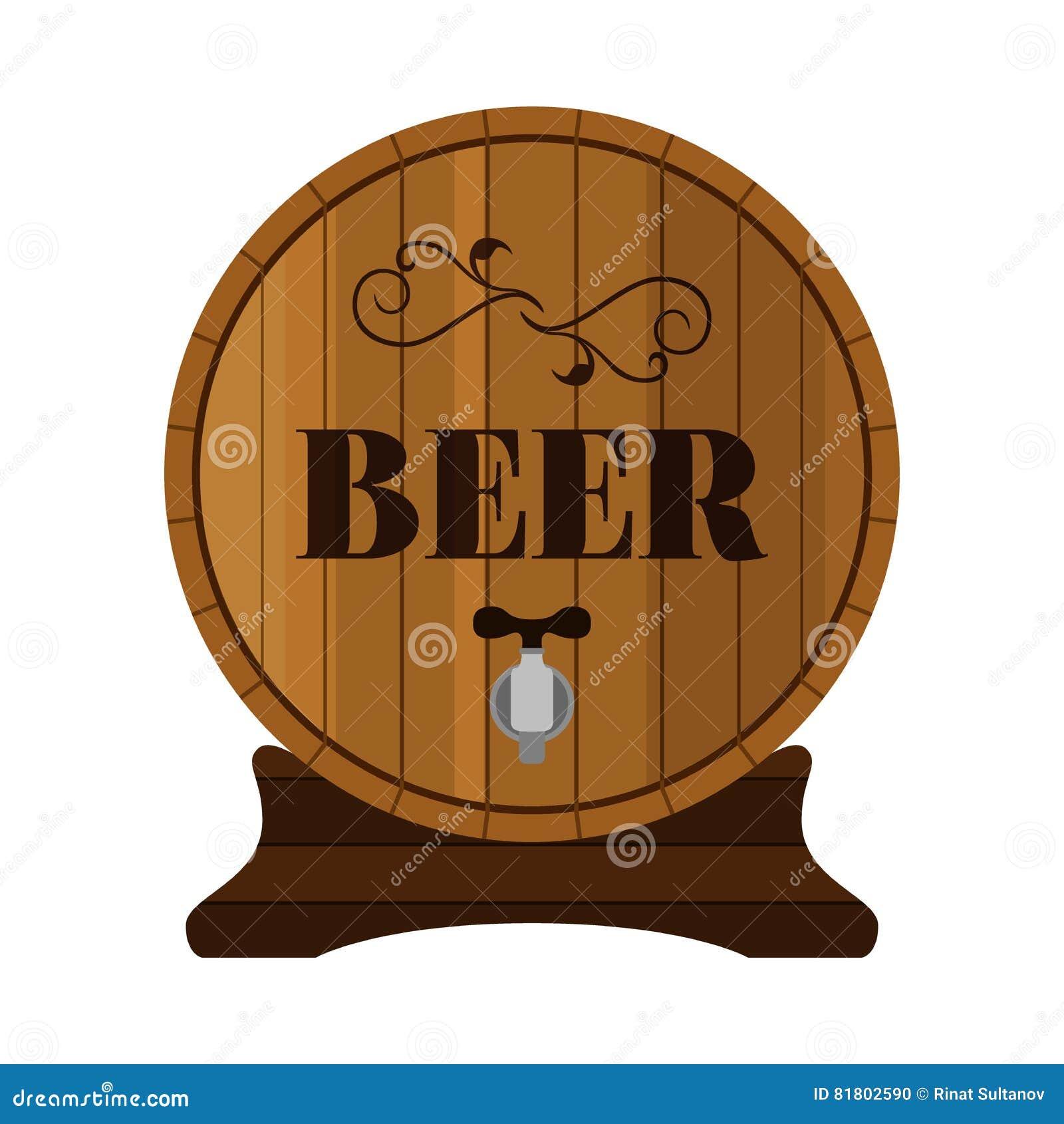 Бочонок пива Питье спирта в плоском дизайне стиля также вектор иллюстрации притяжки corel