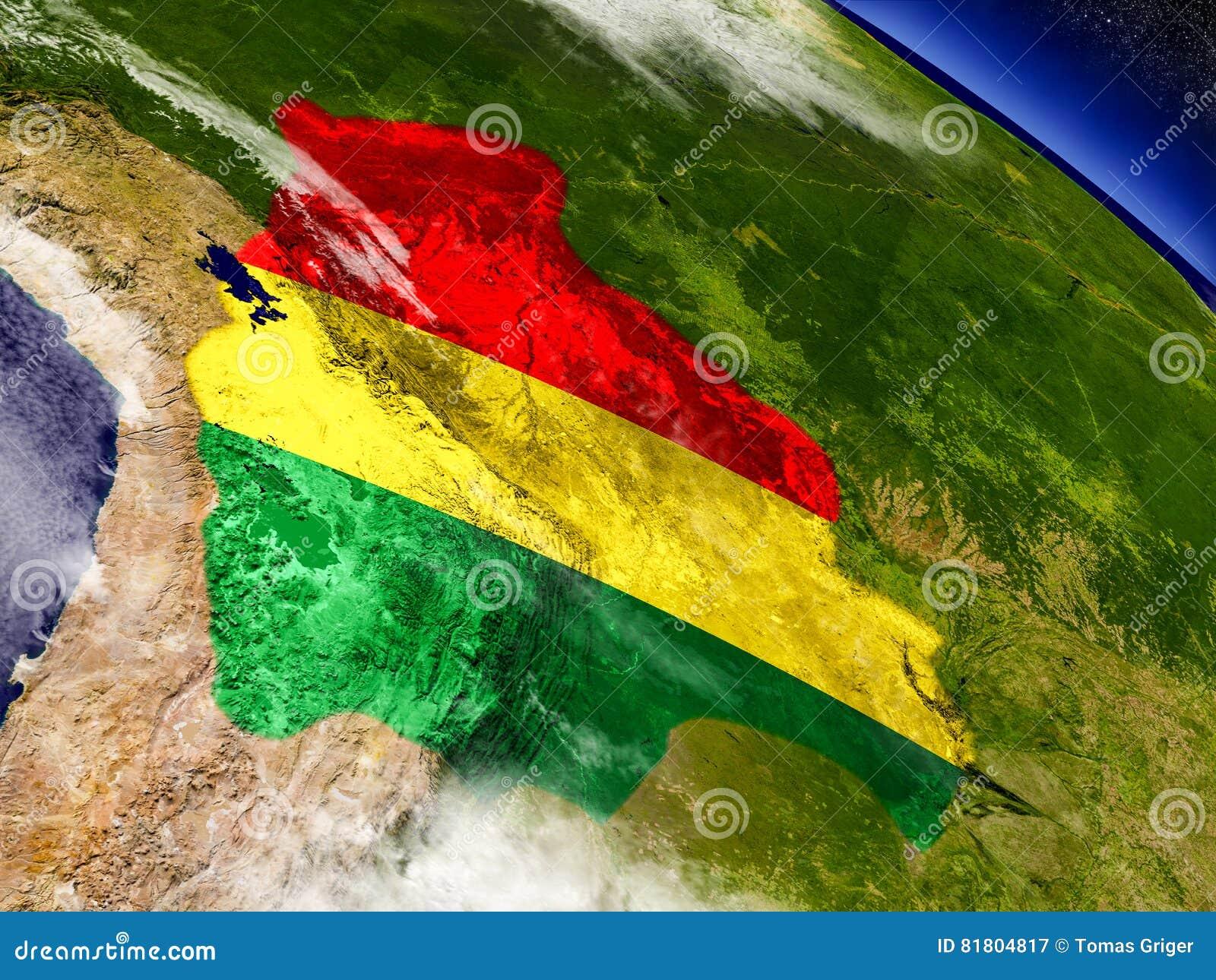 Боливия с врезанным флагом на земле