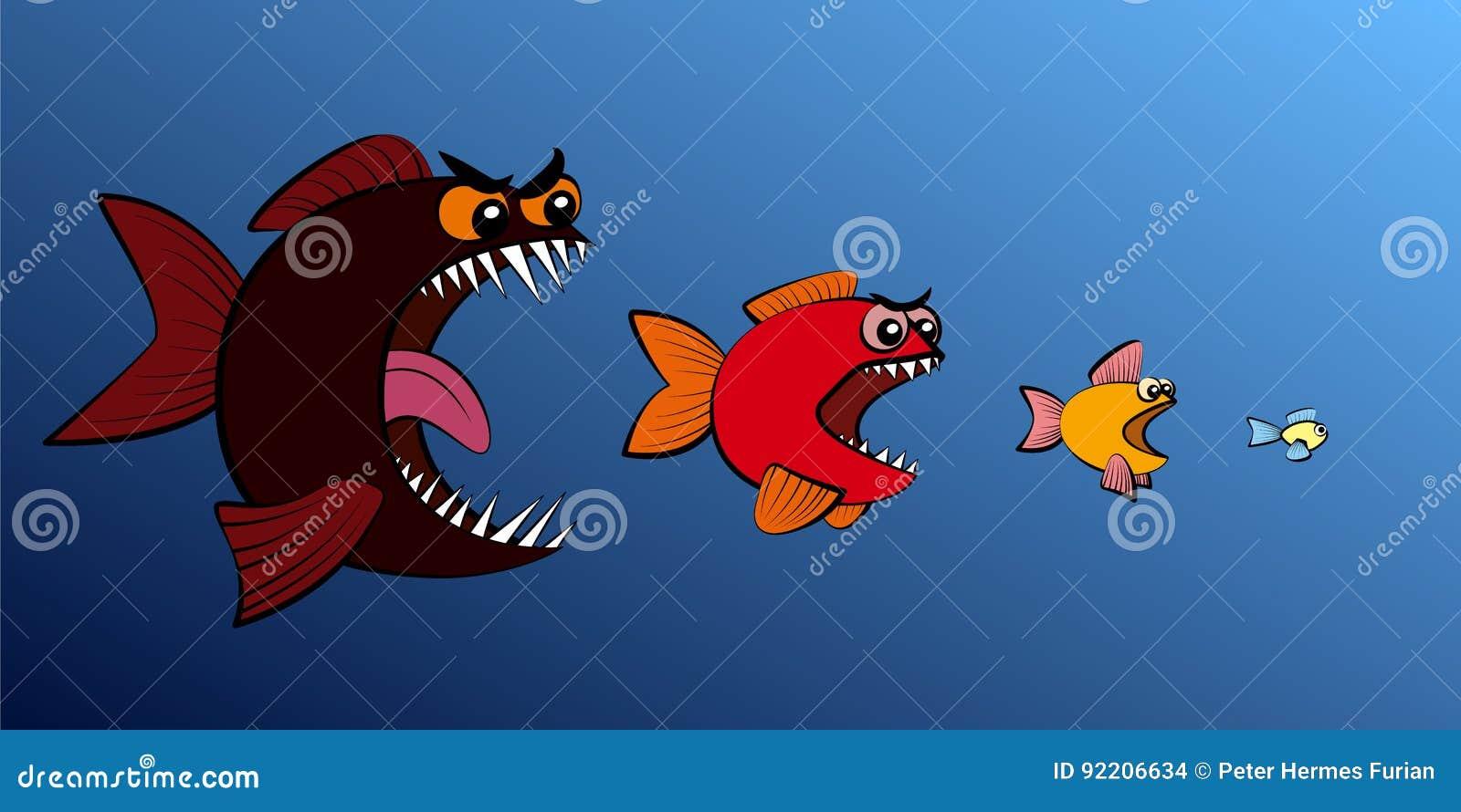 Большая рыба ест более малую сеть предприятий общественного питания рыб