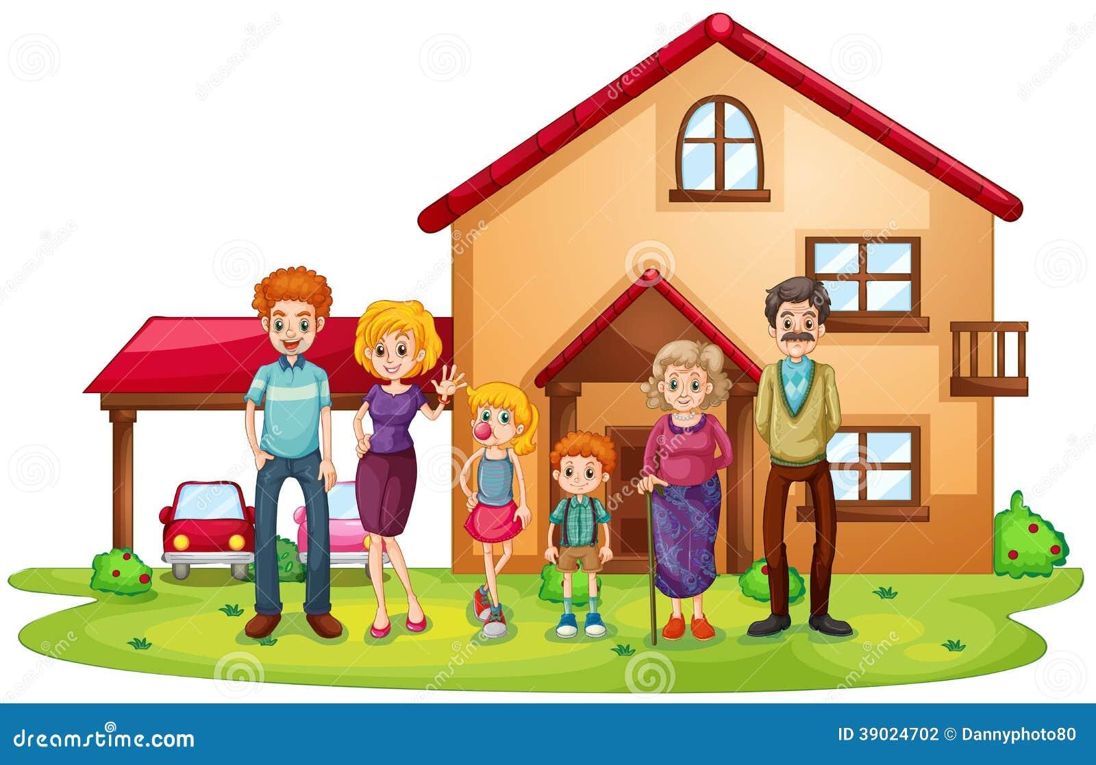 Большая семья перед большим домом