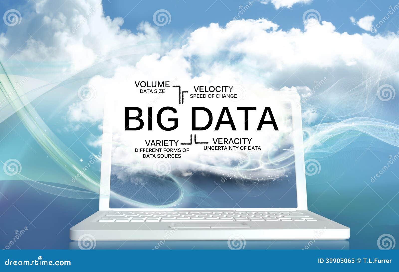 Большие данные V на компьтер-книжке с облаками