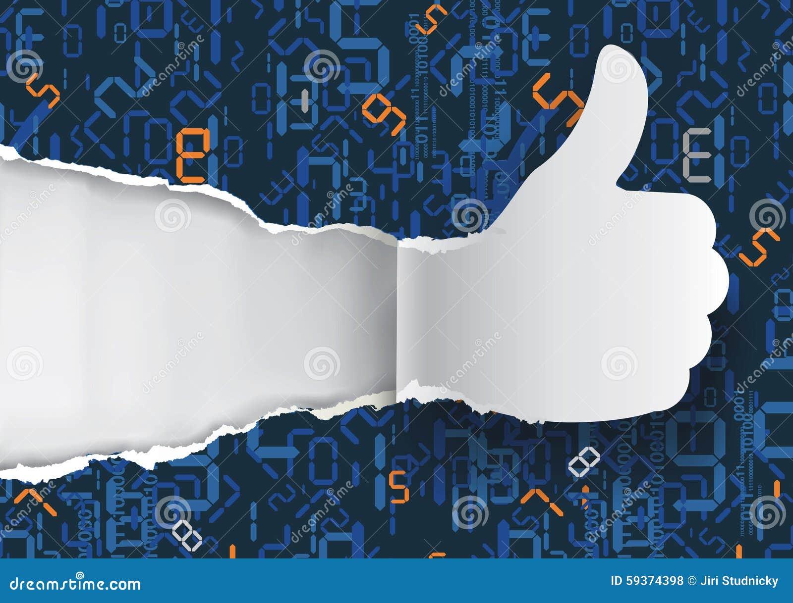 Большие пальцы руки вверх с цифровыми номерами
