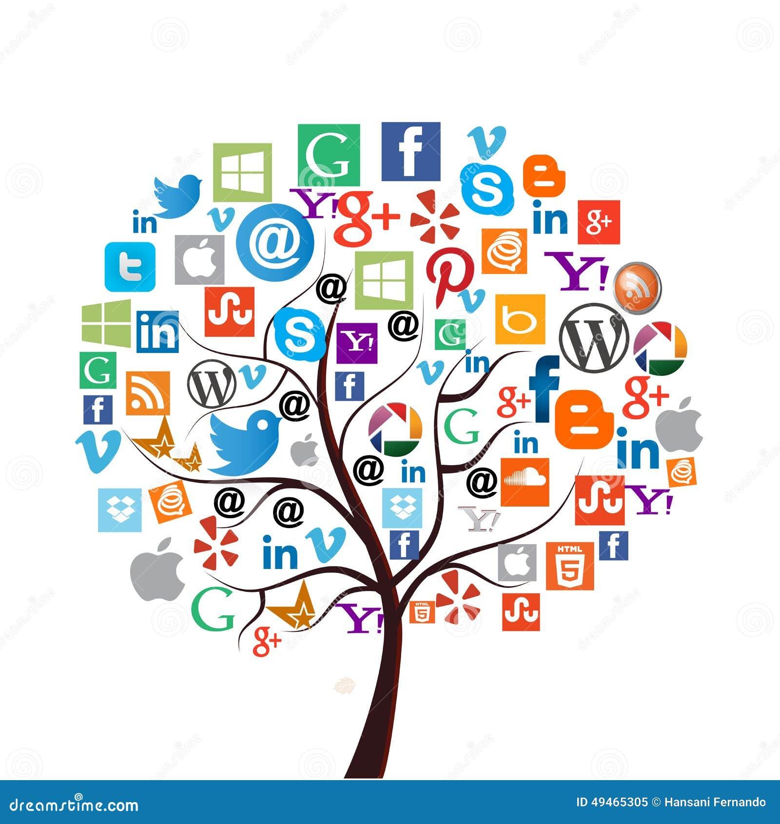 Большинств популярные социальные средства массовой информации/значки сети
