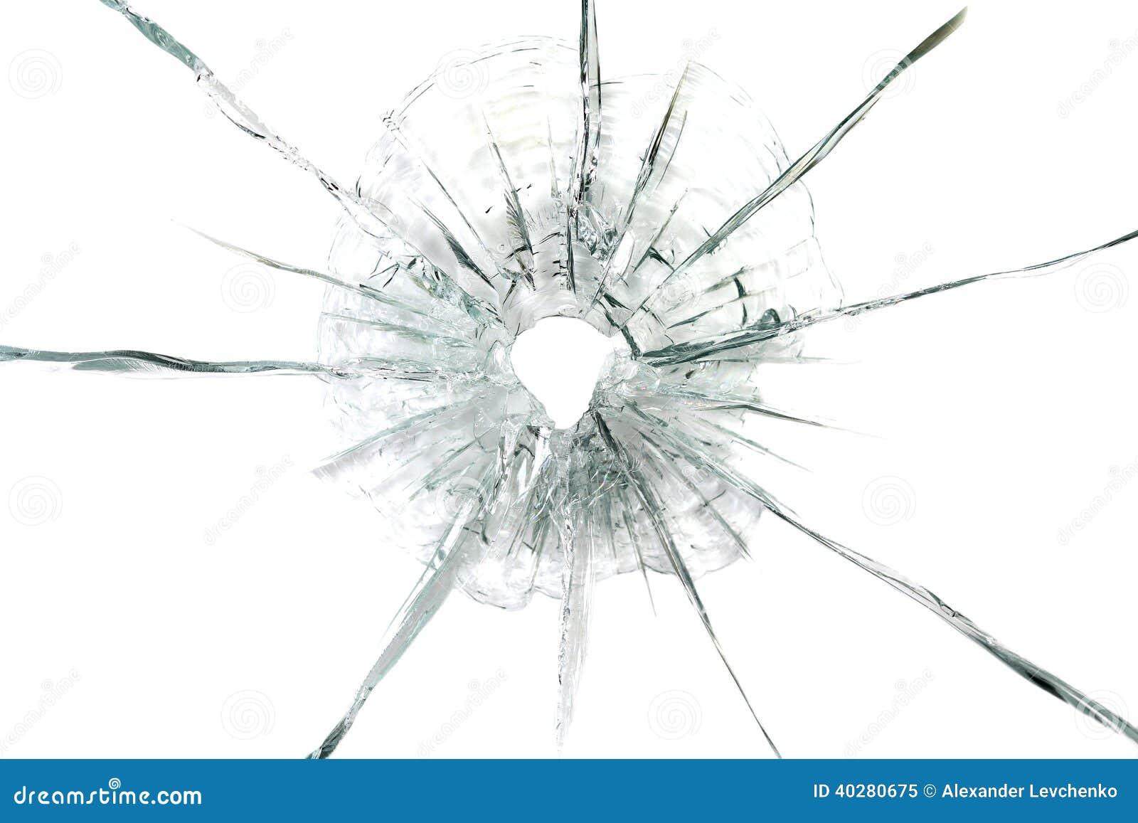 Большое пулевое отверстие в стеклянной предпосылке