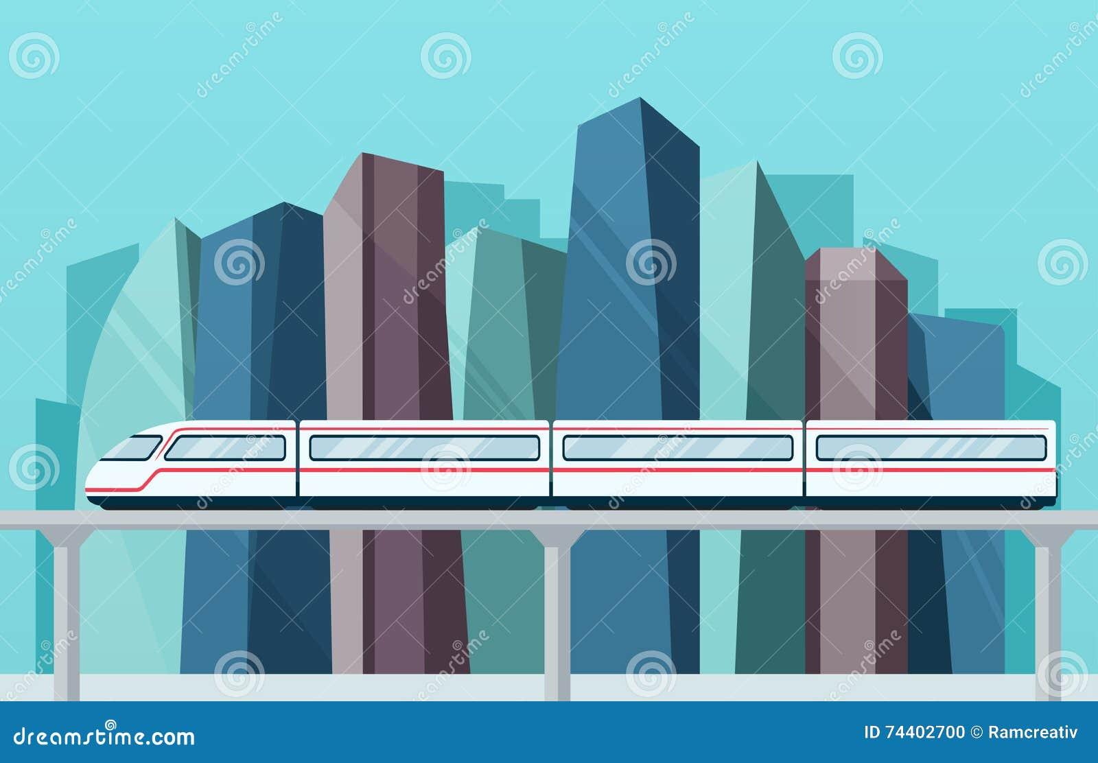 Большой город с небоскребами и метро skytrain
