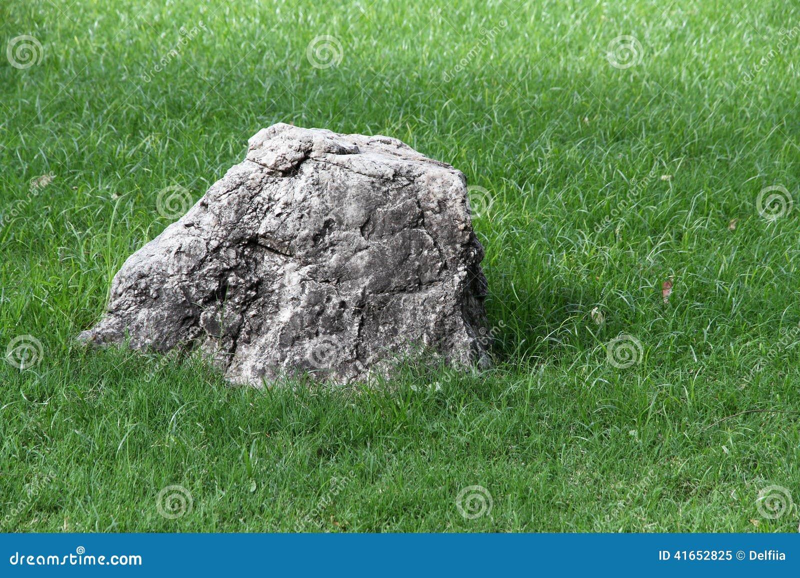 Большой камень среди зеленой травы символ