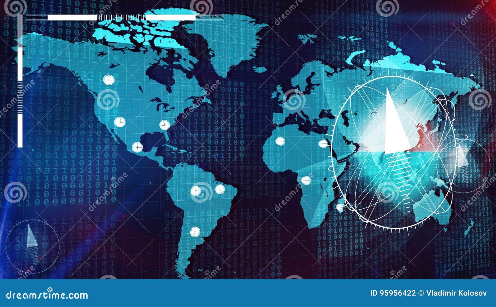 Большой компас на карте и крупных городах земли
