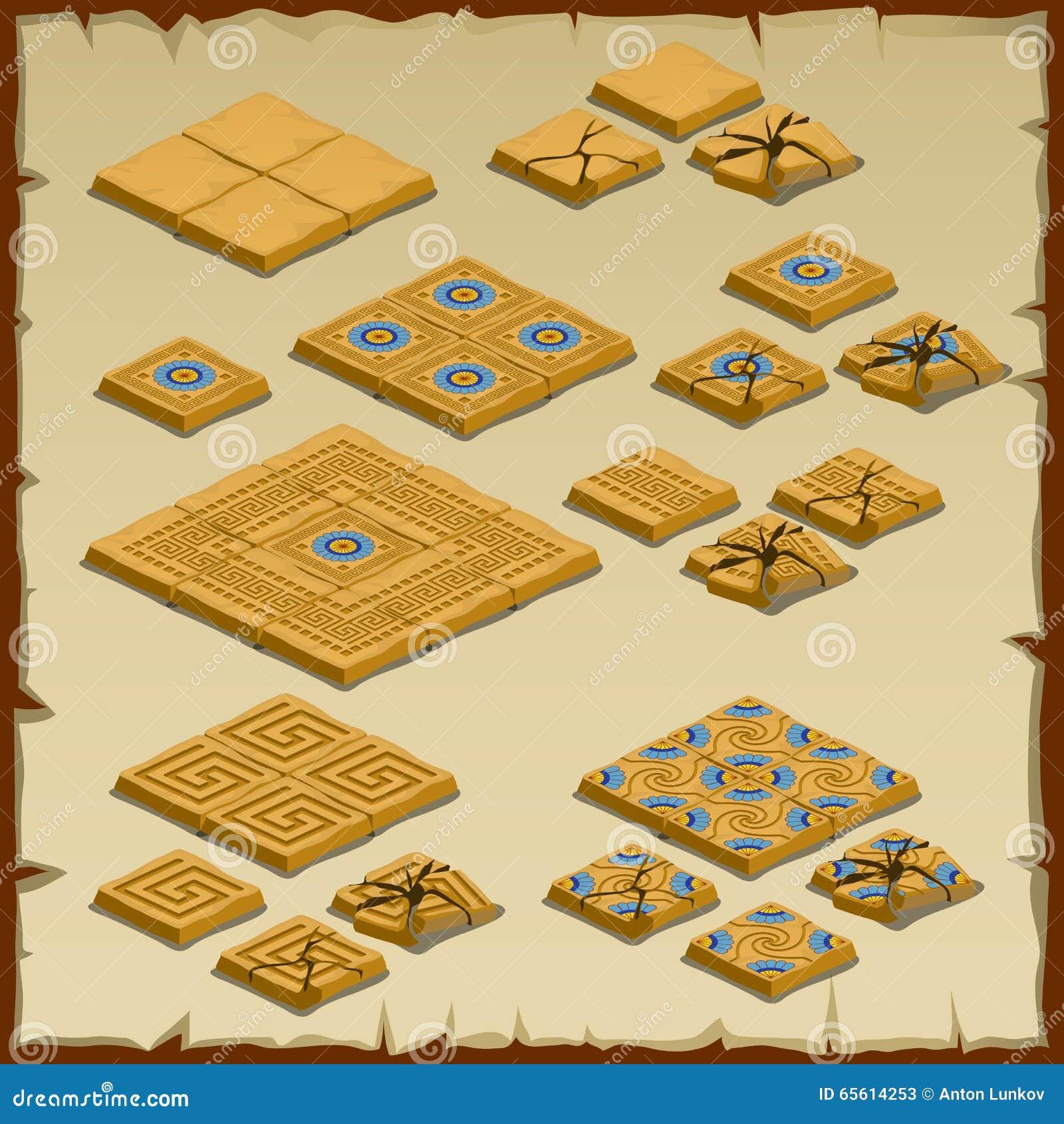 Большой комплект вымощать плитки, египетскую тему