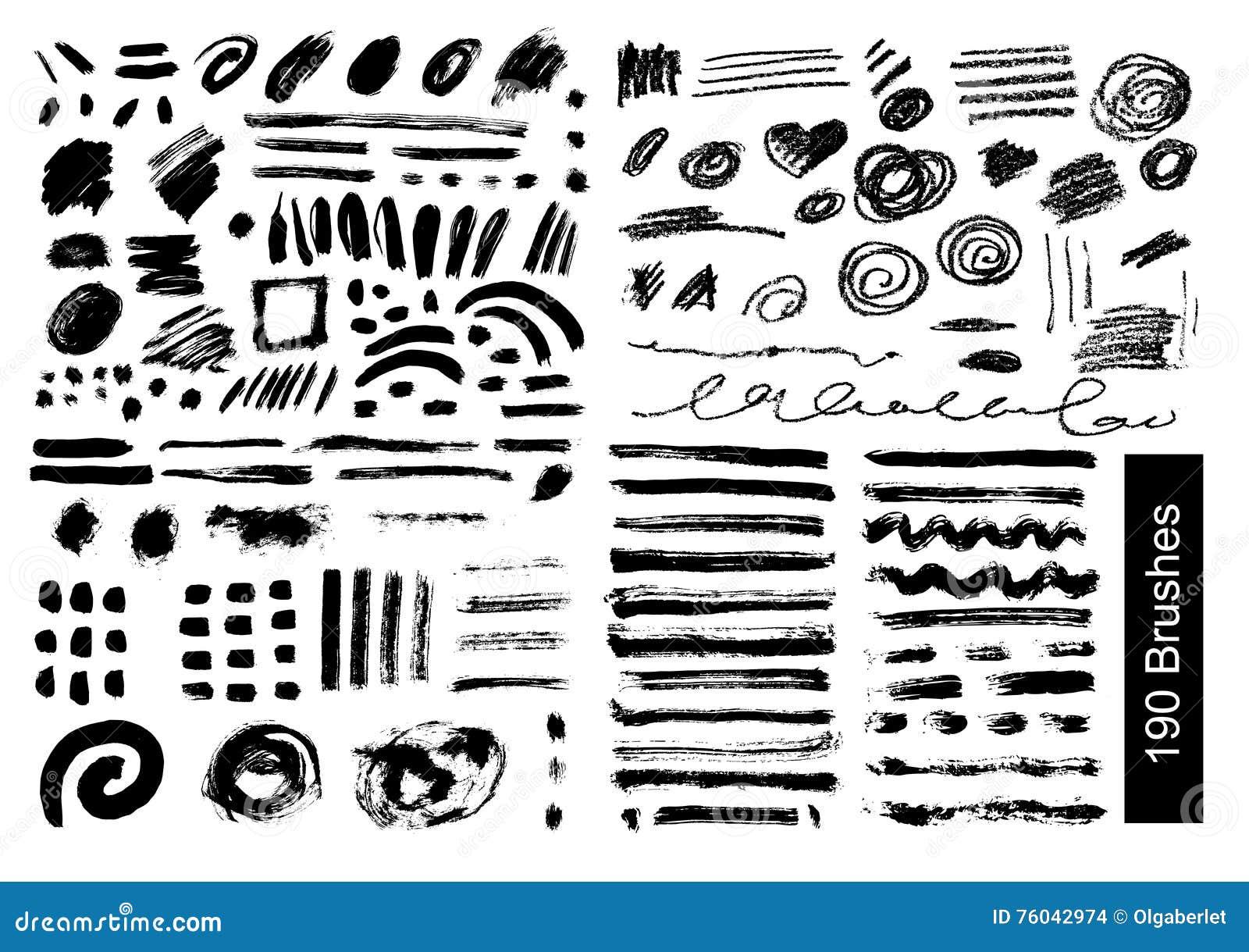 Большой комплект 190 щеток вектора объектов