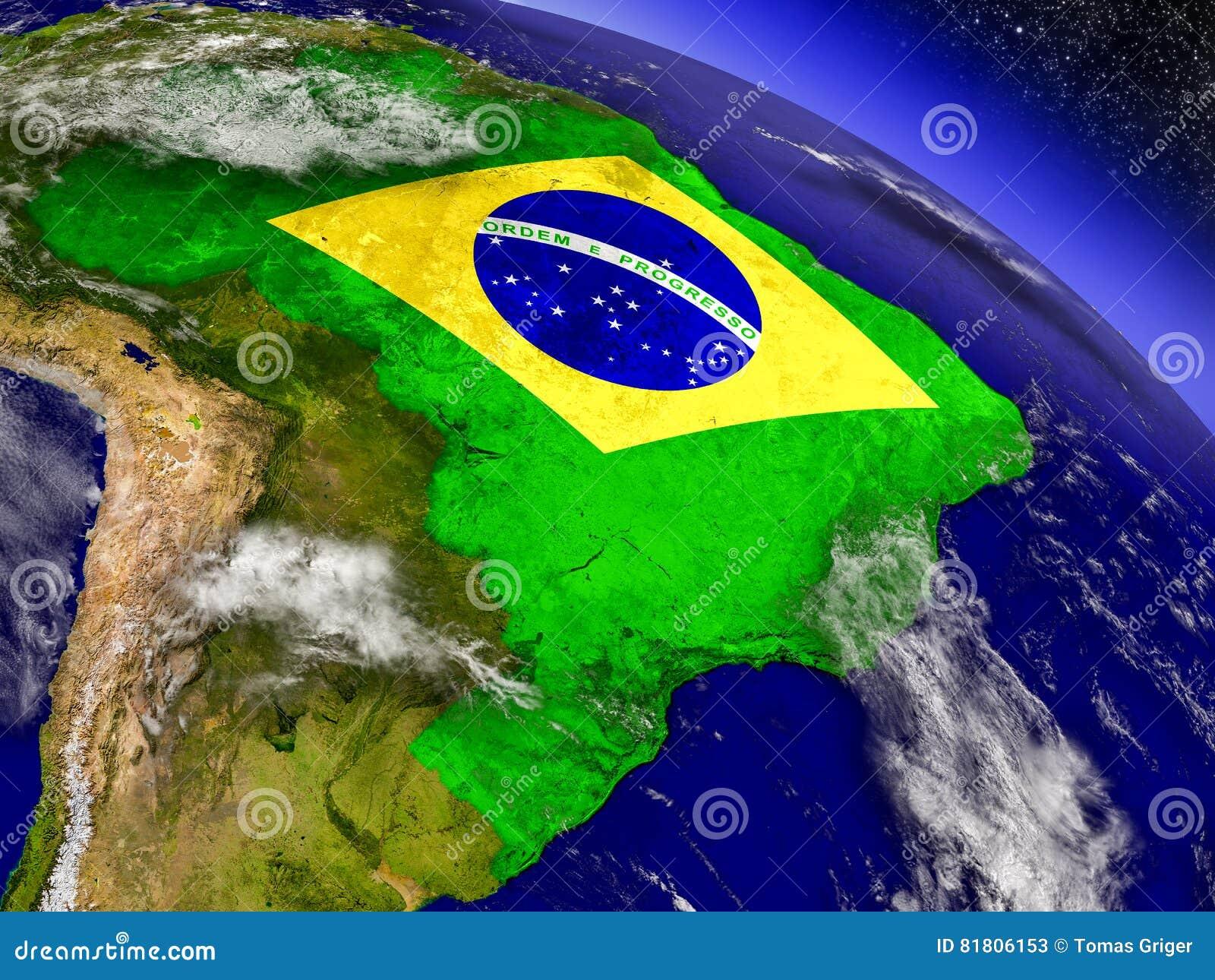 Бразилия с врезанным флагом на земле