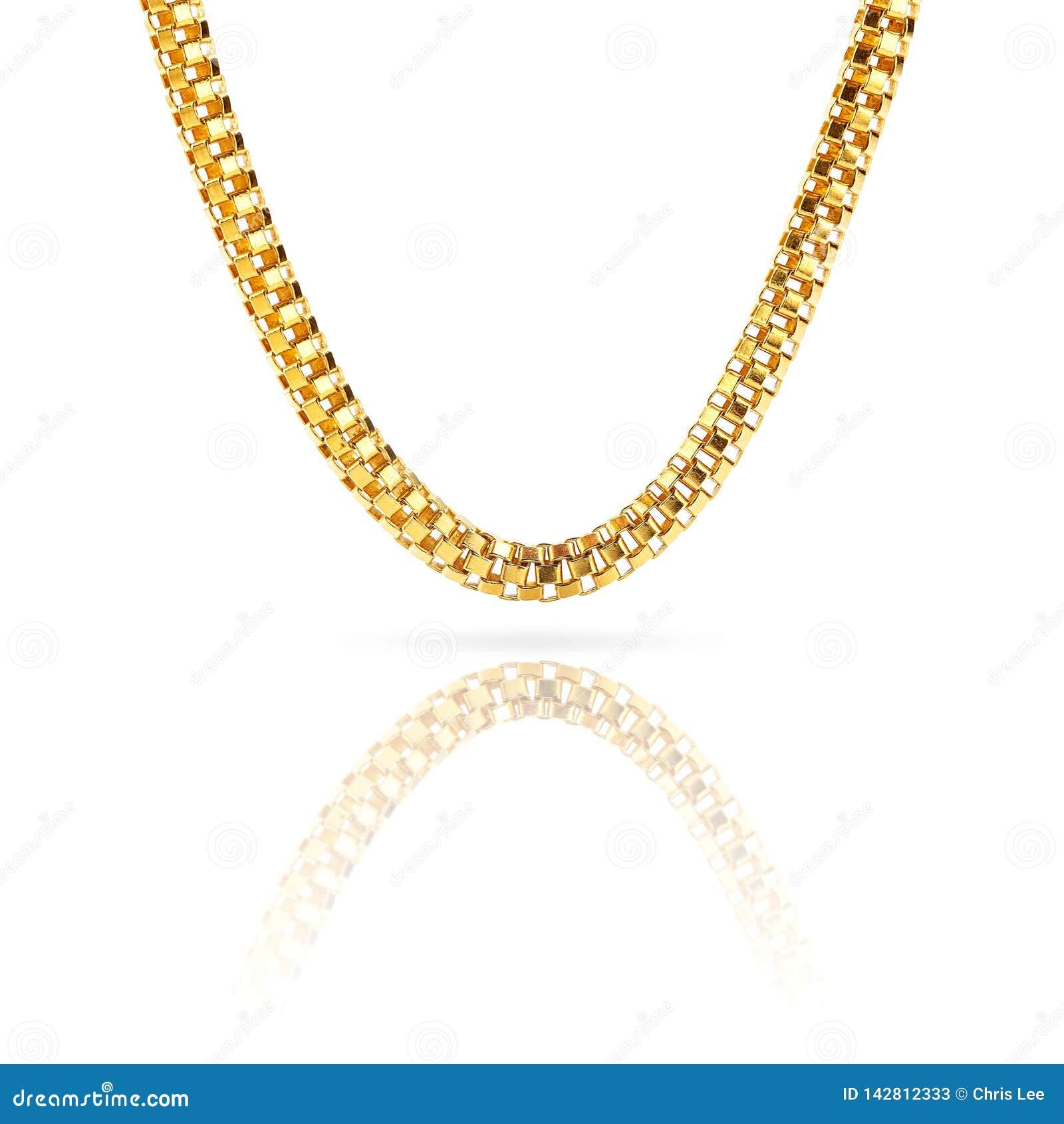 Браслет ожерелья чистого чистого золота цепной изолированный на бело