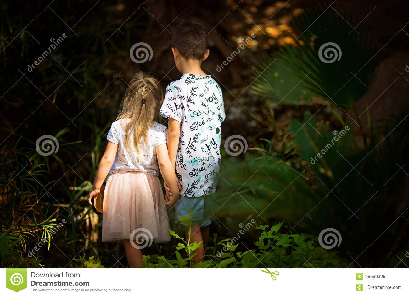 Брат и сестра в fairy лесе