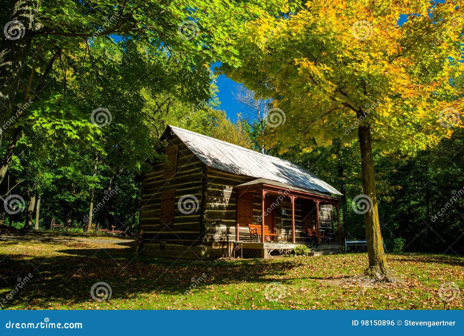 Бревенчатая хижина, осень, almelund, Минесота